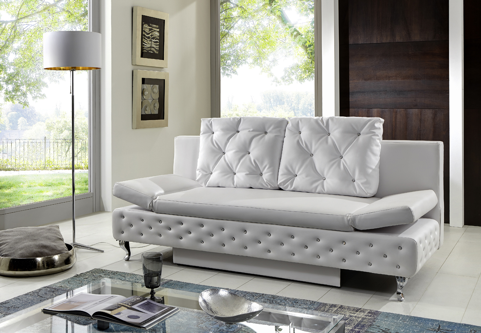 sam schlafsofa schlafcouch mit bettkasten wei 200 cm roxy. Black Bedroom Furniture Sets. Home Design Ideas
