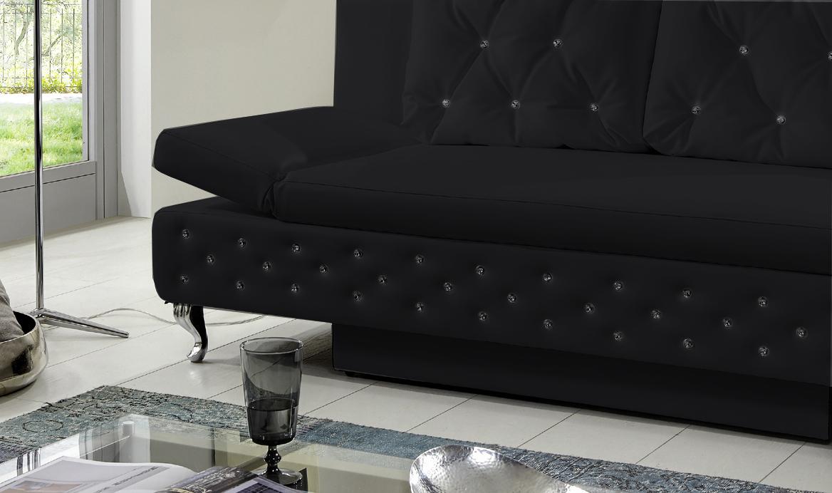 Schlafcouch mit bettkasten  SAM® Schlafsofa Schlafcouch mit Bettkasten schwarz 200 cm Roxy