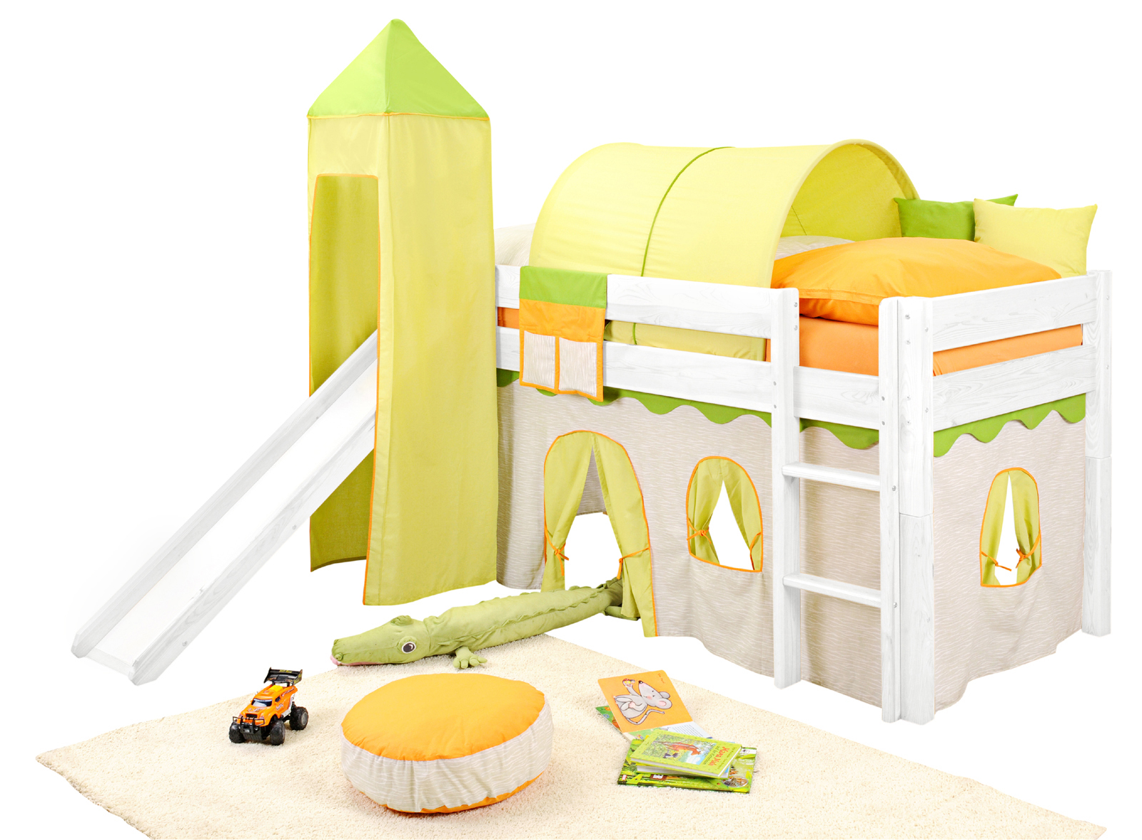 sam kinder spielbett dschungel i wei gerade massivholz. Black Bedroom Furniture Sets. Home Design Ideas