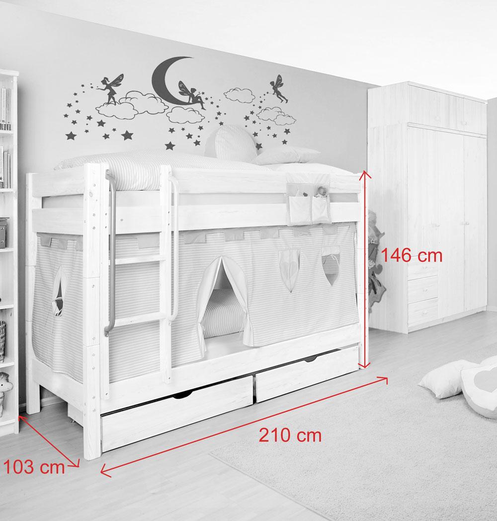 sam kinder etagenbett girl i wei gerade massivholz auf. Black Bedroom Furniture Sets. Home Design Ideas