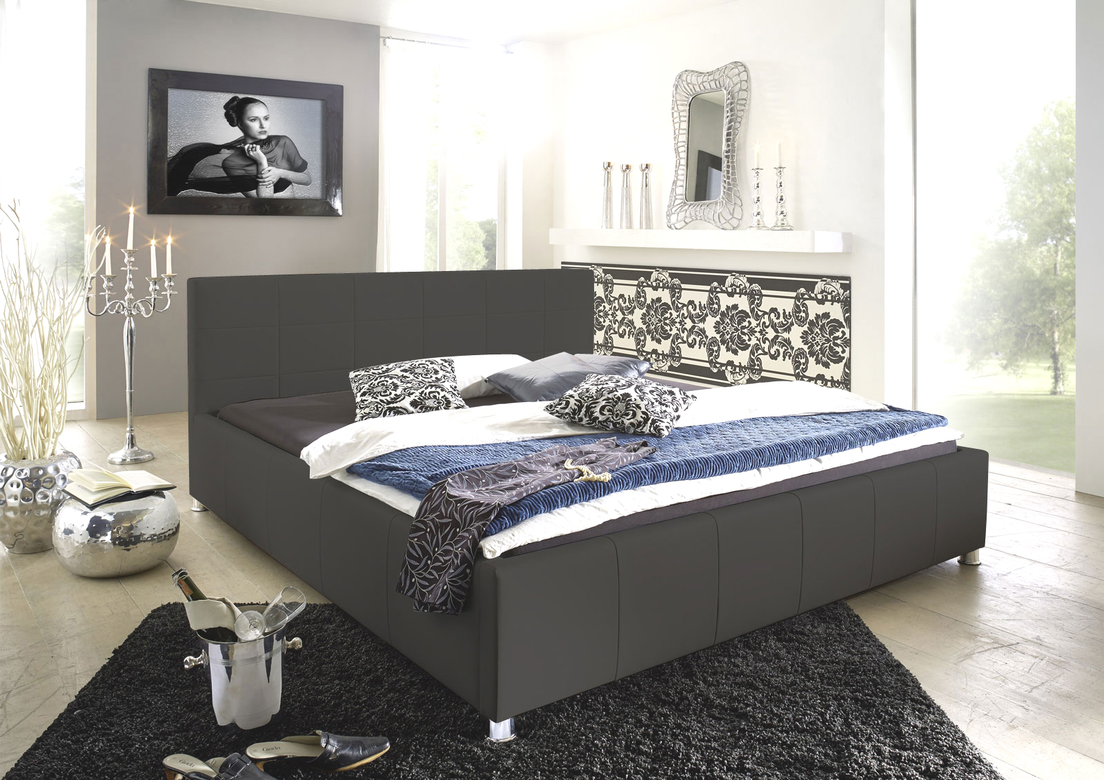 sam design bett 140 x 200 cm grau kira auf lager. Black Bedroom Furniture Sets. Home Design Ideas
