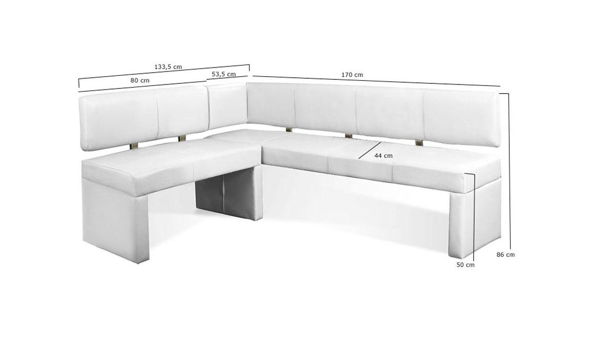 sam eckbank recyceltes leder wei cm x 170 cm laselena auf lager. Black Bedroom Furniture Sets. Home Design Ideas