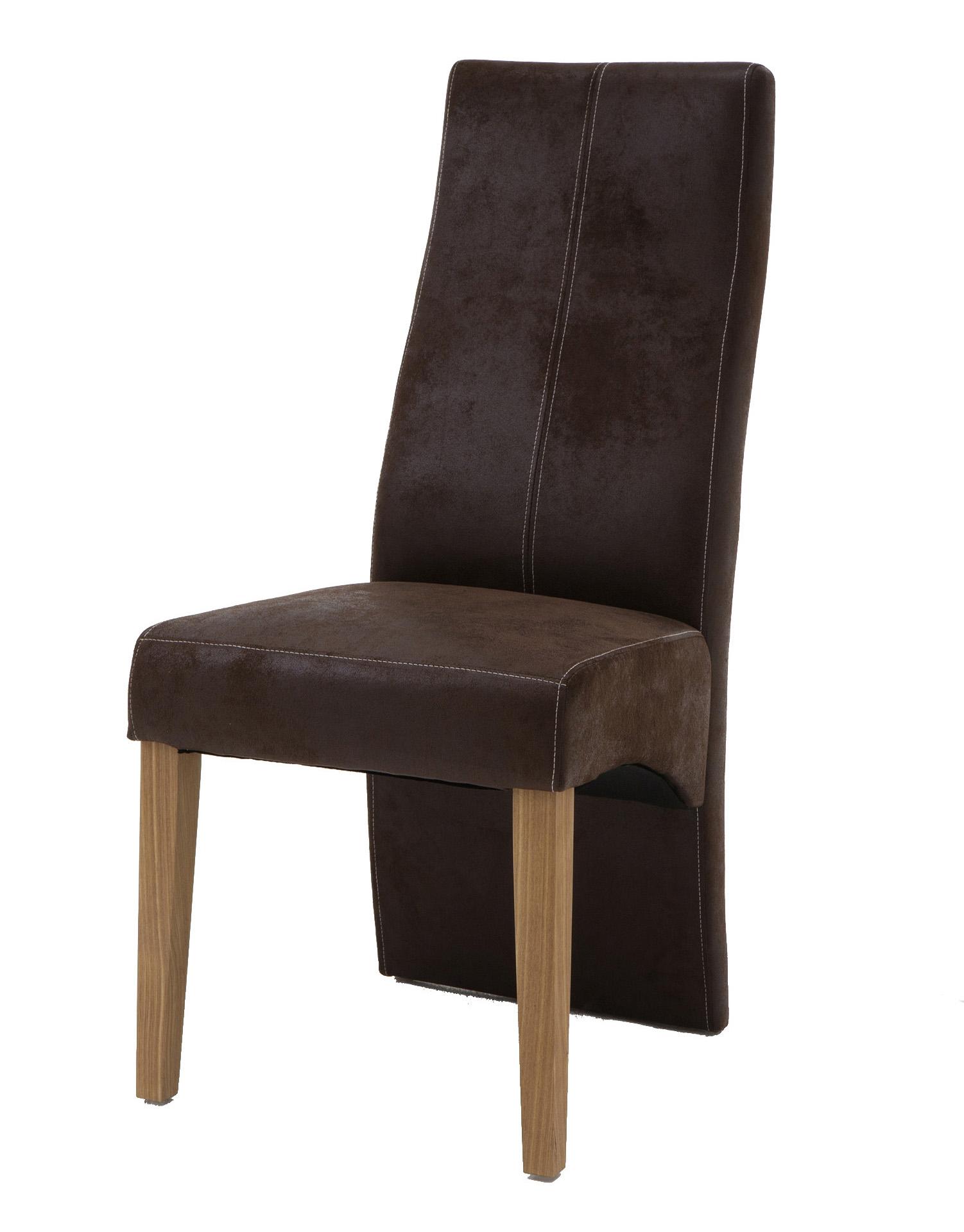 Sam esszimmerstuhl braun mit stoffbezug in wildlederoptik for Design stuhl freischwinger piet 30