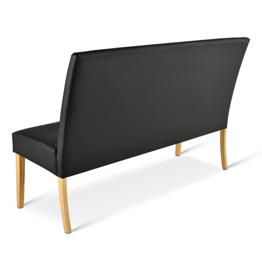 sam esszimmerbank mit lehne 140 cm schwarz recyceltes leder sancho. Black Bedroom Furniture Sets. Home Design Ideas