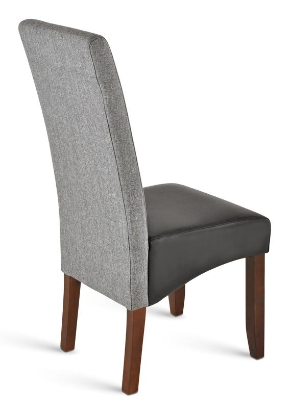 sam esszimmerstuhl schwarz recyceltes leder mit grauem stoff santos. Black Bedroom Furniture Sets. Home Design Ideas