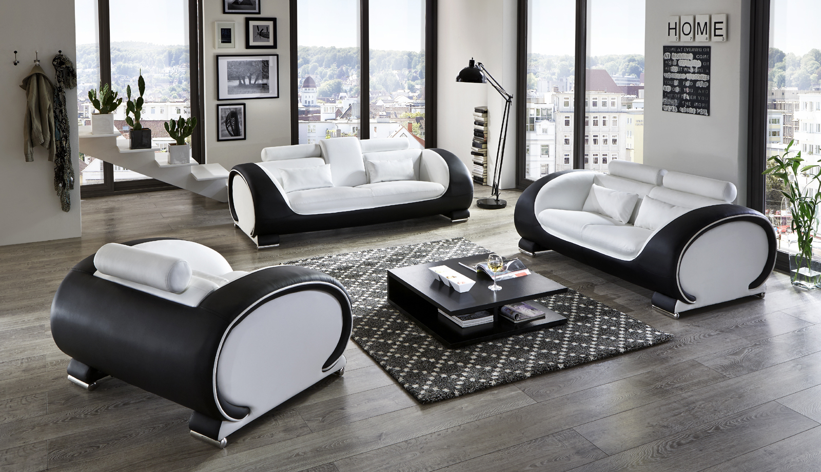 sam design garnitur sofa 3tlg in wei schwarz vigo 3 2 1 auf lager. Black Bedroom Furniture Sets. Home Design Ideas