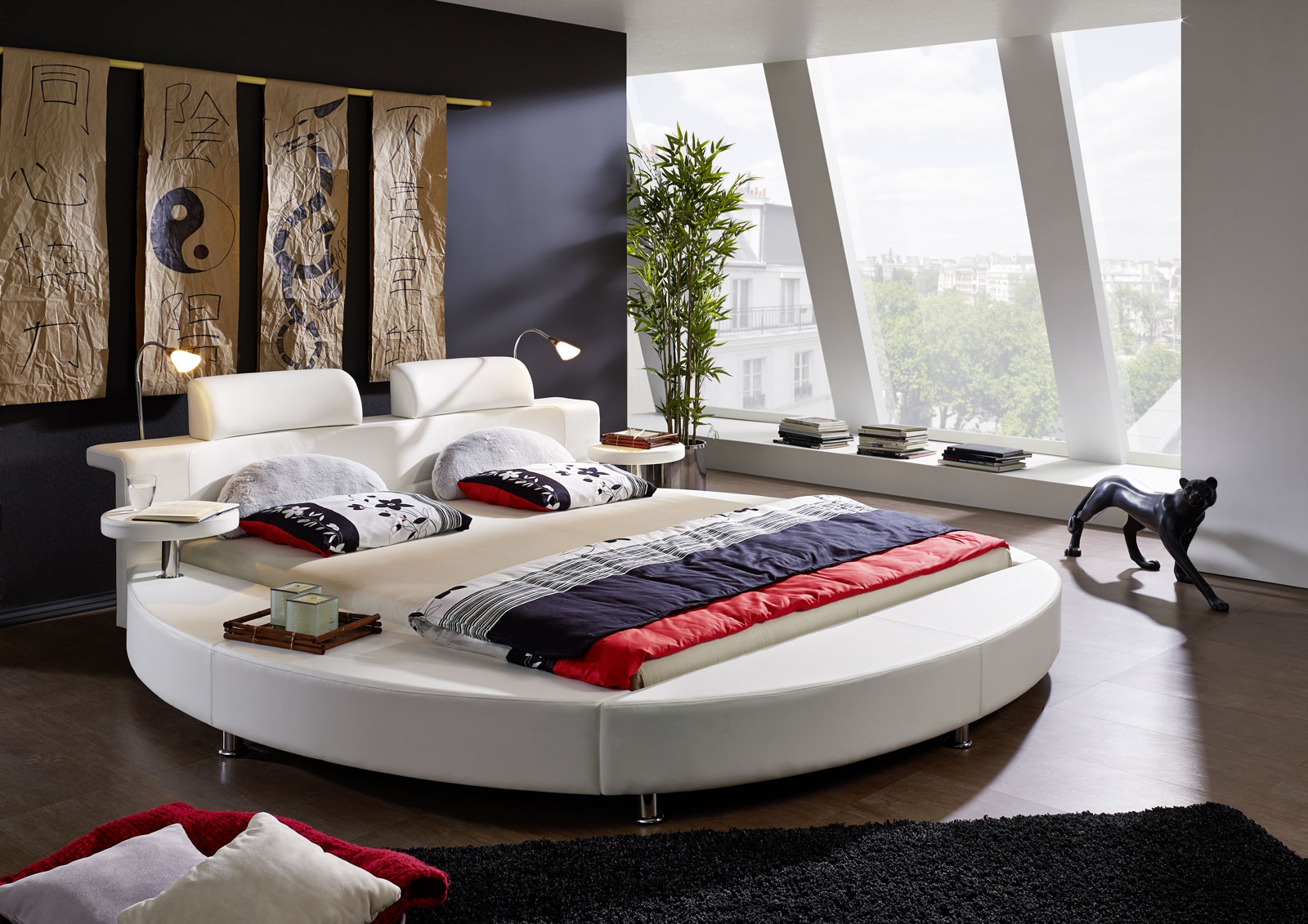 sam rundbett doppelbett 180 x 200 cm 2 leselampen wei. Black Bedroom Furniture Sets. Home Design Ideas