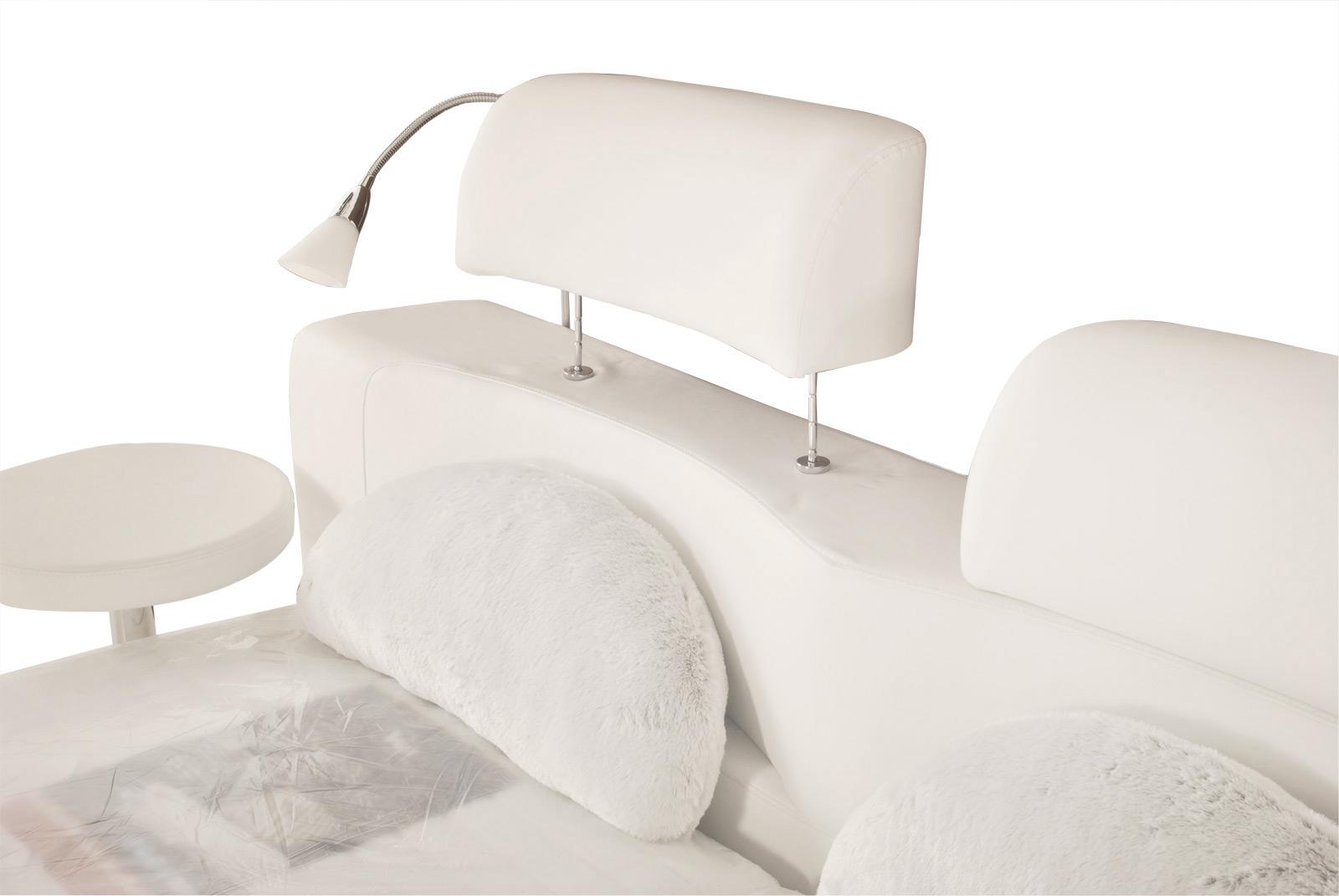 sam rundbett doppelbett 180 x 200 cm 2 leselampen wei. Black Bedroom Furniture Sets. Home Design Ideas