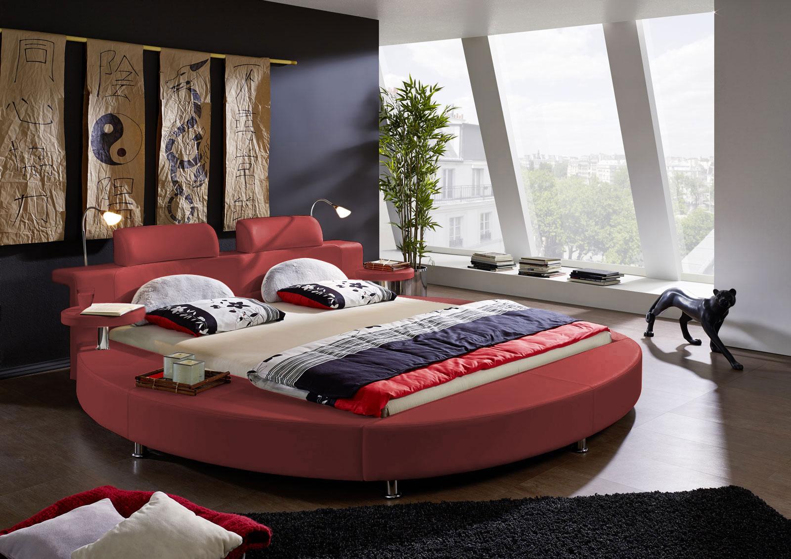 sam rundbett doppelbett 180 x 200 cm 2 lampen rot. Black Bedroom Furniture Sets. Home Design Ideas