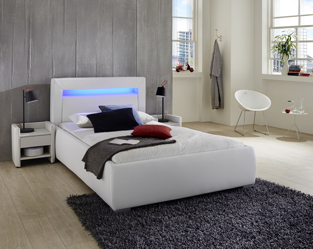 sam polsterbett 90 x 200 cm wei lumina auf lager. Black Bedroom Furniture Sets. Home Design Ideas