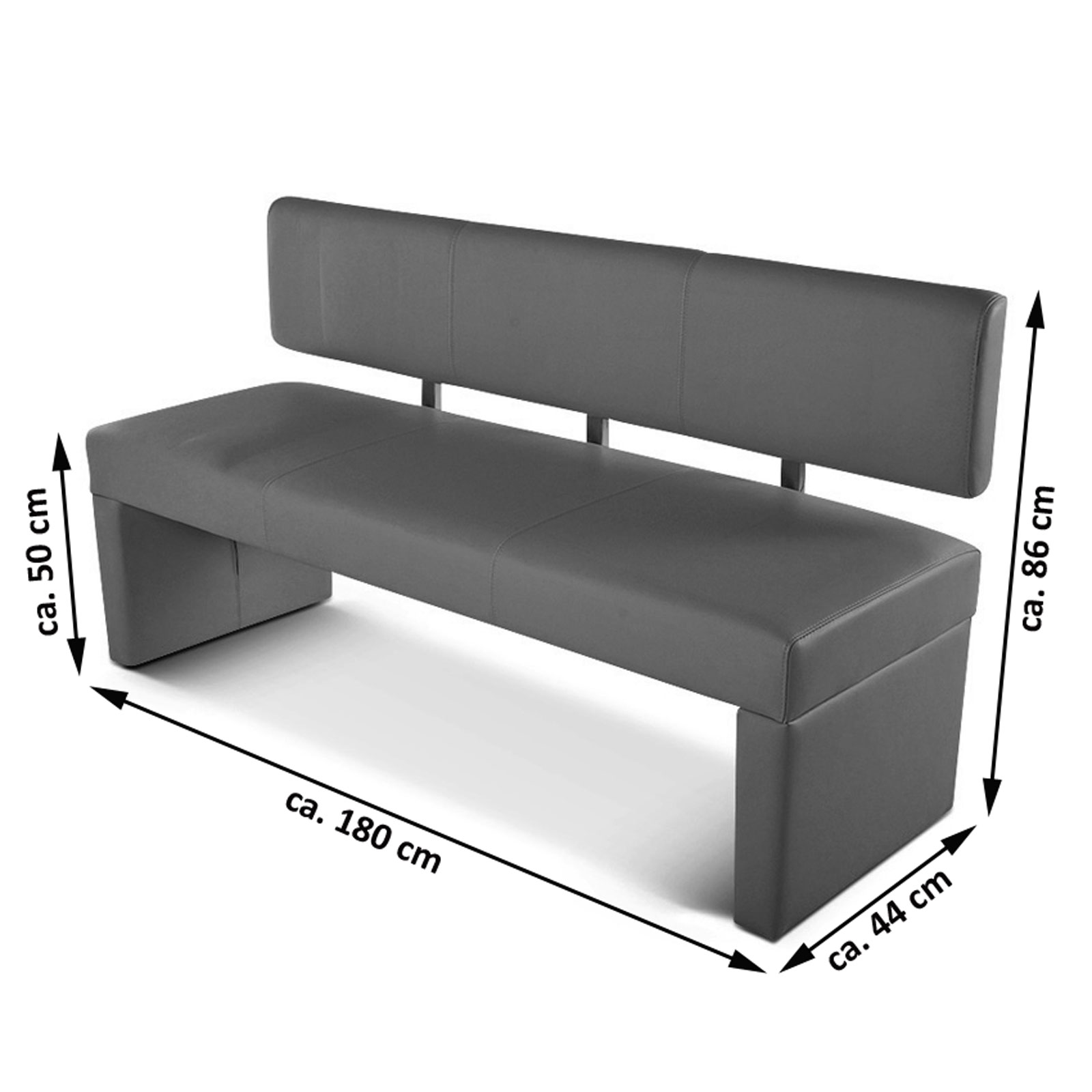 sam esszimmerbank 180 cm wei recyceltes leder selena demn chst. Black Bedroom Furniture Sets. Home Design Ideas