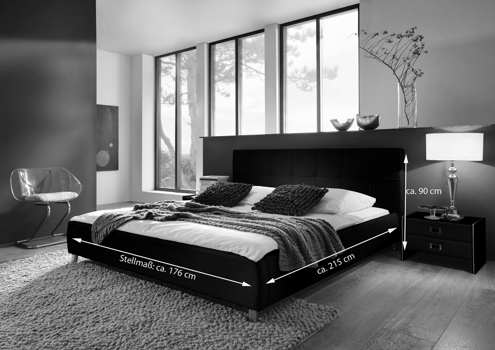 sam polsterbett 160x200 cm schwarz bettgestell g nstig zarah. Black Bedroom Furniture Sets. Home Design Ideas