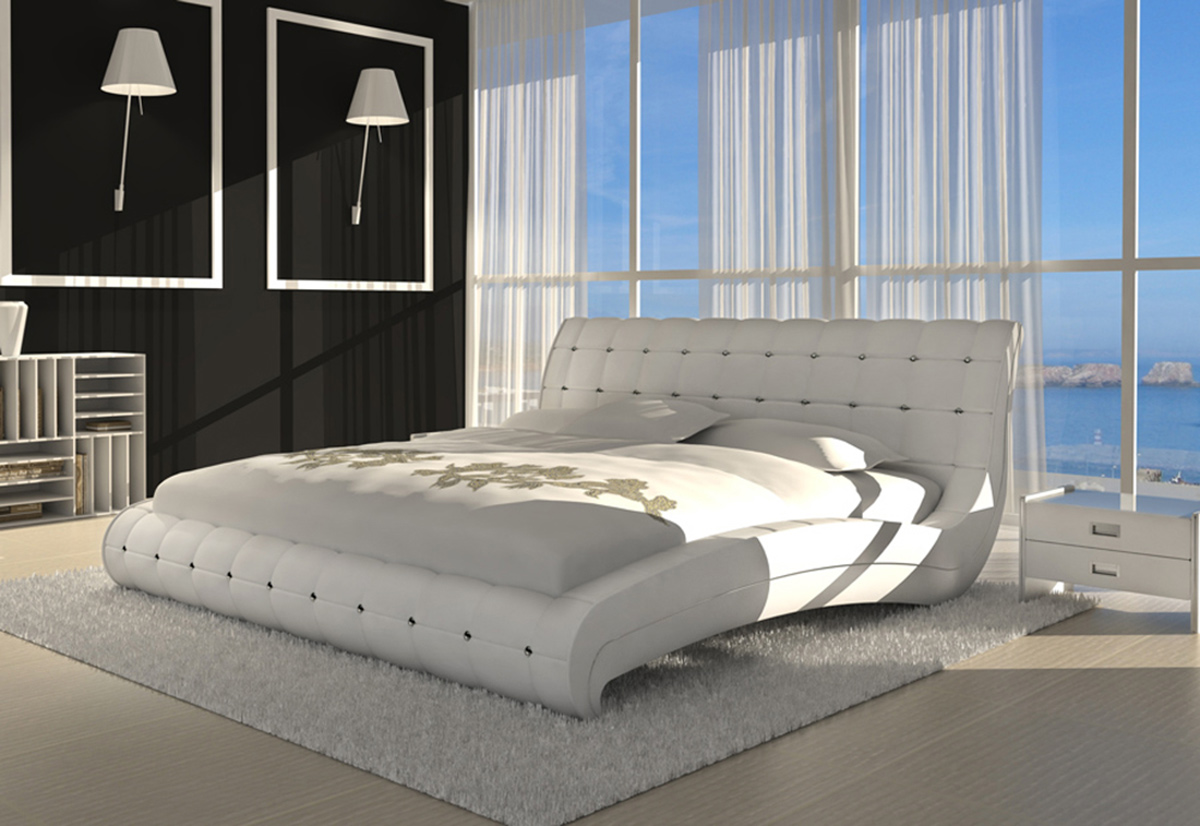 sam polsterbett doppelbett bett 180 cm wei vederi. Black Bedroom Furniture Sets. Home Design Ideas