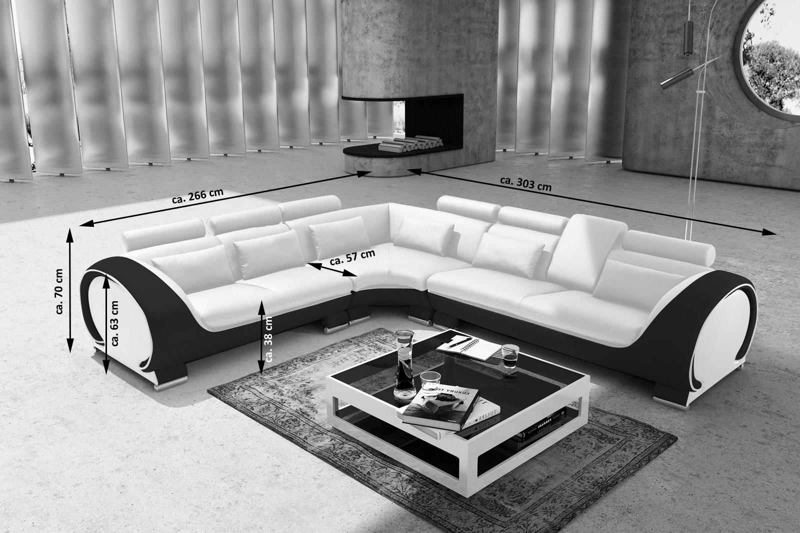 sam ecksofa wei schwarz couch 266 x 303 cm vigo combi 4. Black Bedroom Furniture Sets. Home Design Ideas