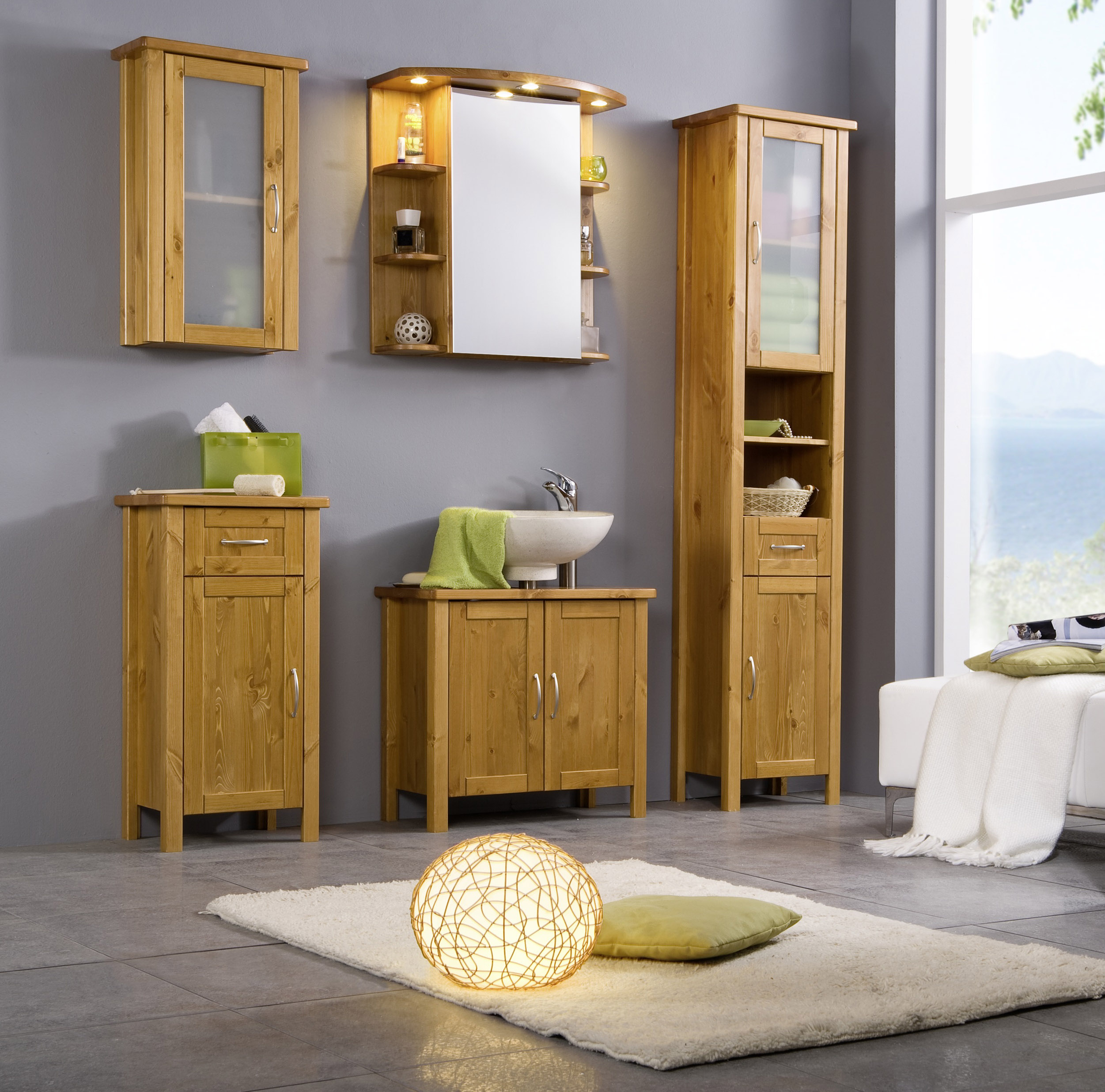sam bad set honig massiv kiefer lackiert 5tlg venedig demn chst. Black Bedroom Furniture Sets. Home Design Ideas