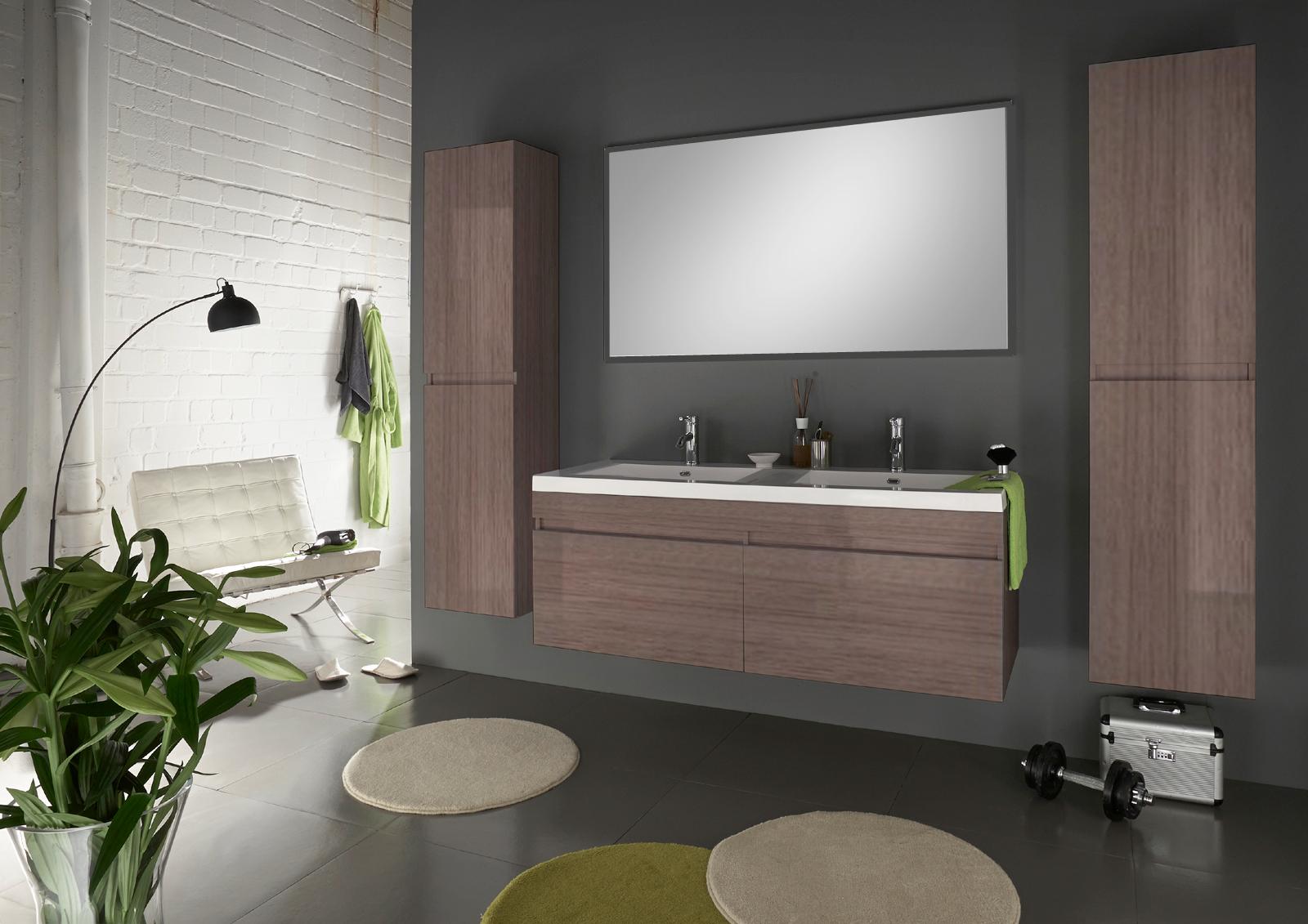 Badezimmermöbel doppelwaschbecken  SAM® Badmöbel Set 4tlg Doppelwaschtisch 140 cm trüffeleiche Parma