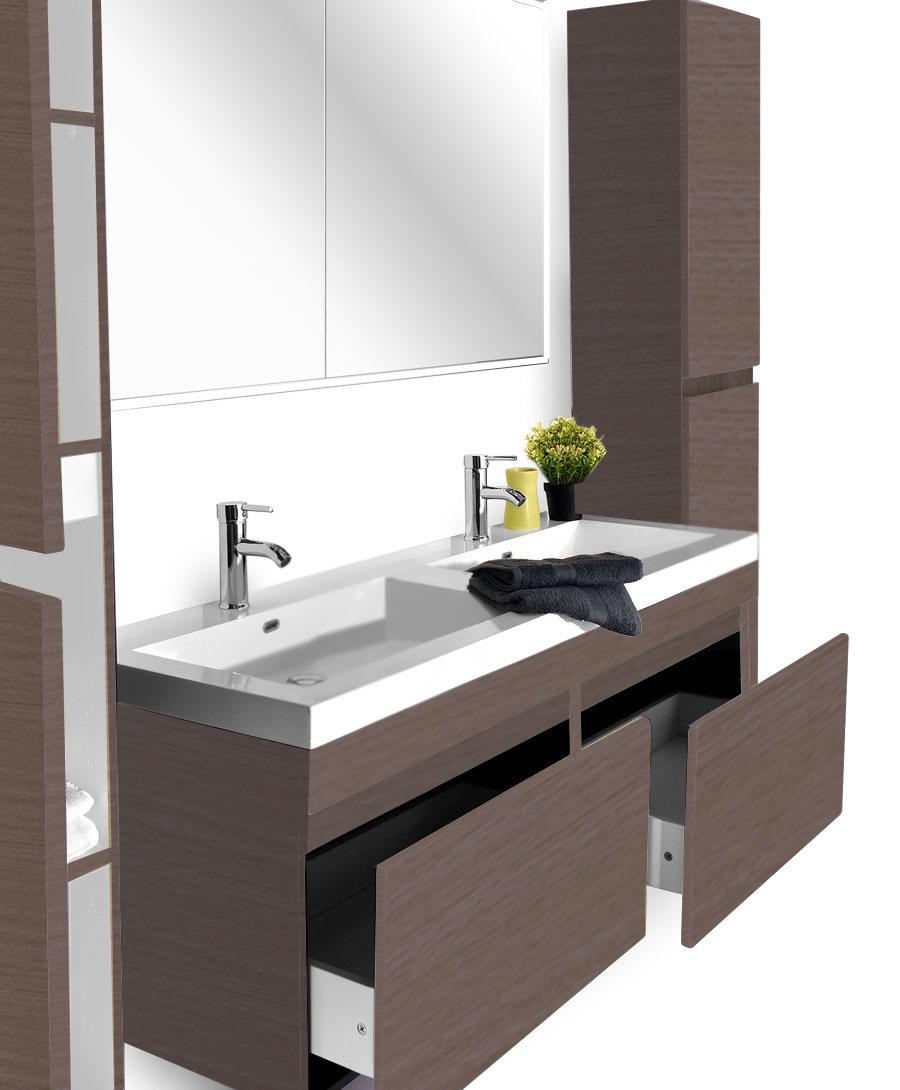SAM® Badmöbel Set 4tlg Doppelwaschtisch 140 cm trüffeleiche Parma