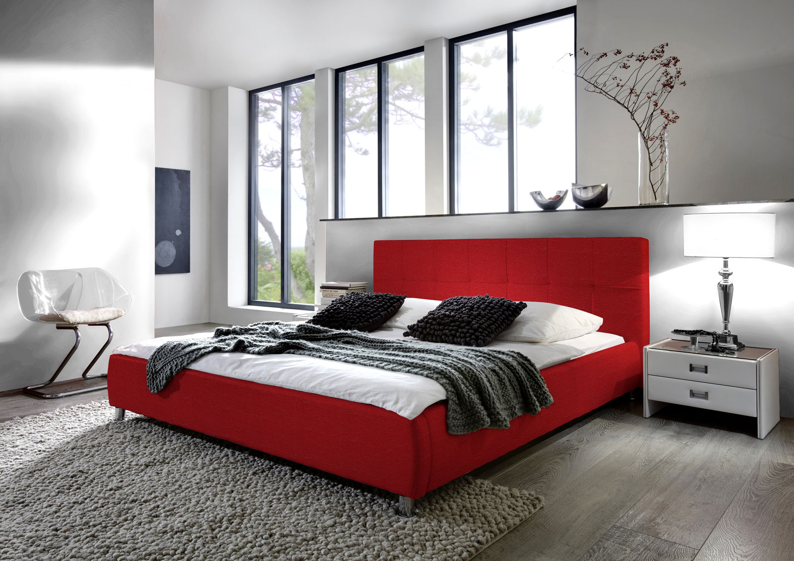 sam polsterbett 180x200 cm rot bettgestell g nstig zarah demn chst. Black Bedroom Furniture Sets. Home Design Ideas
