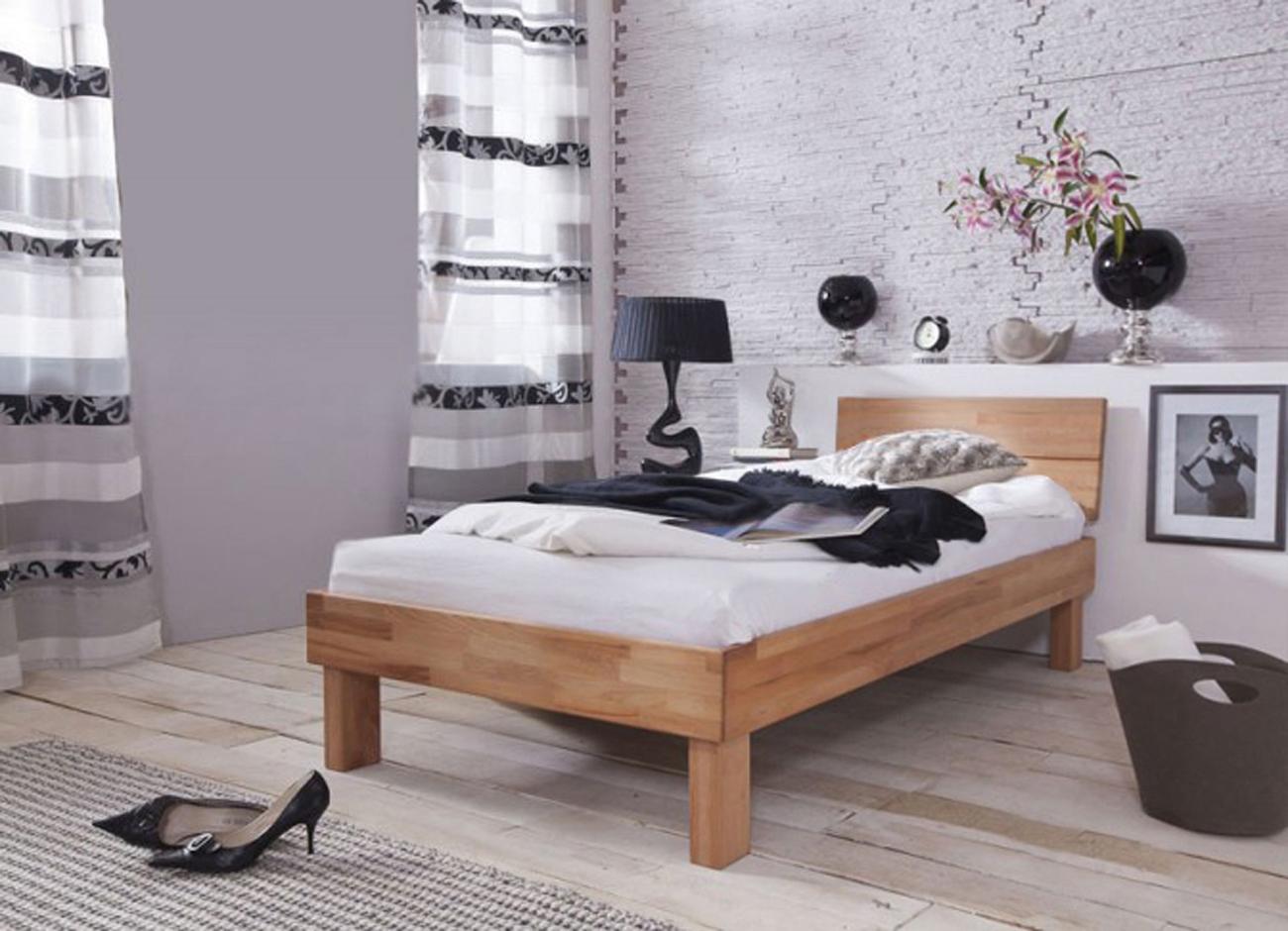 sam massivholzbett einzelbett in kernbuche ge lt 90 x 200 cm eva. Black Bedroom Furniture Sets. Home Design Ideas