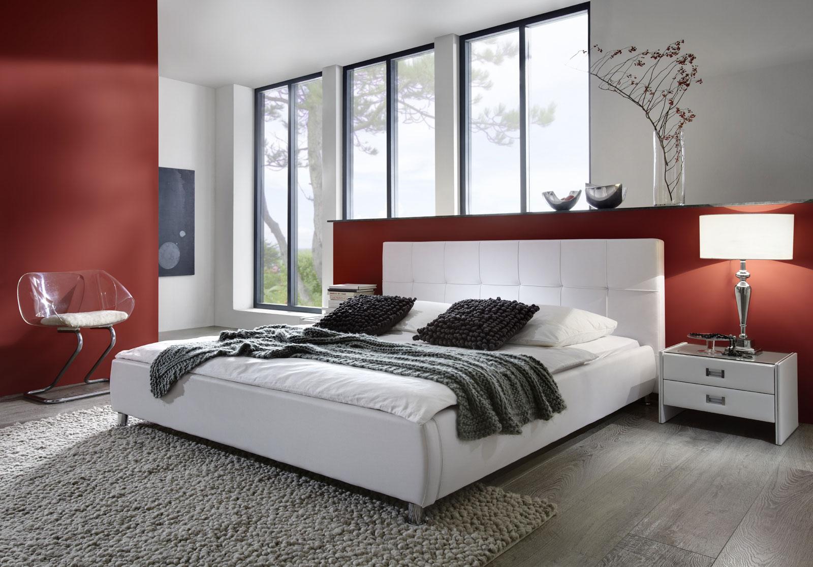 sam polsterbett 200x200 cm in wei bettgestell g nstig. Black Bedroom Furniture Sets. Home Design Ideas