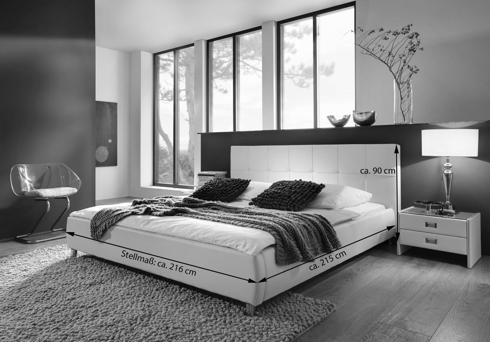 sam polsterbett 200x200 cm in wei bettgestell g nstig. Black Bedroom Furniture Sets. Home Design Ideas
