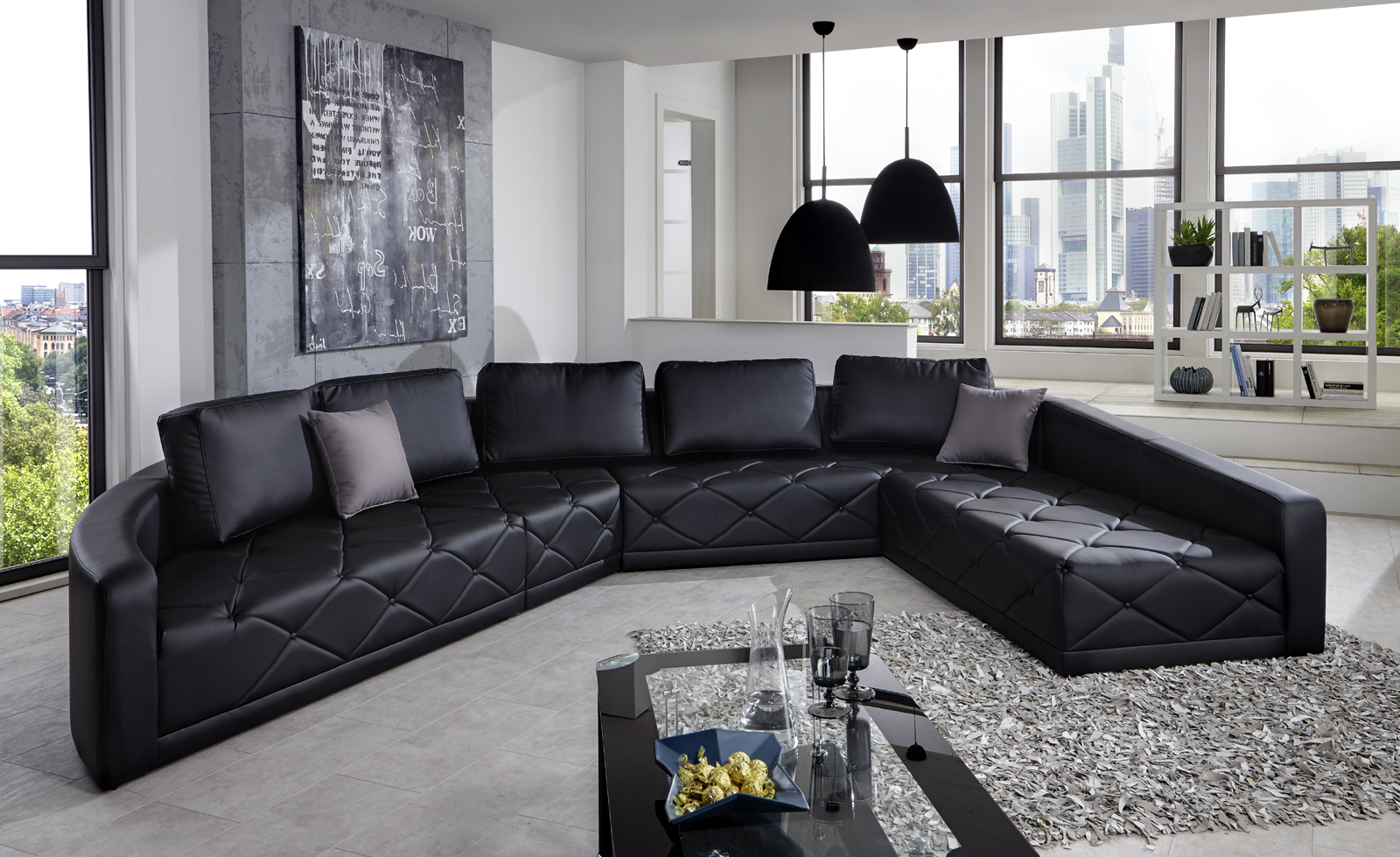 sam design couch schwarz wohnlandschaft nero 380 x 290 cm. Black Bedroom Furniture Sets. Home Design Ideas