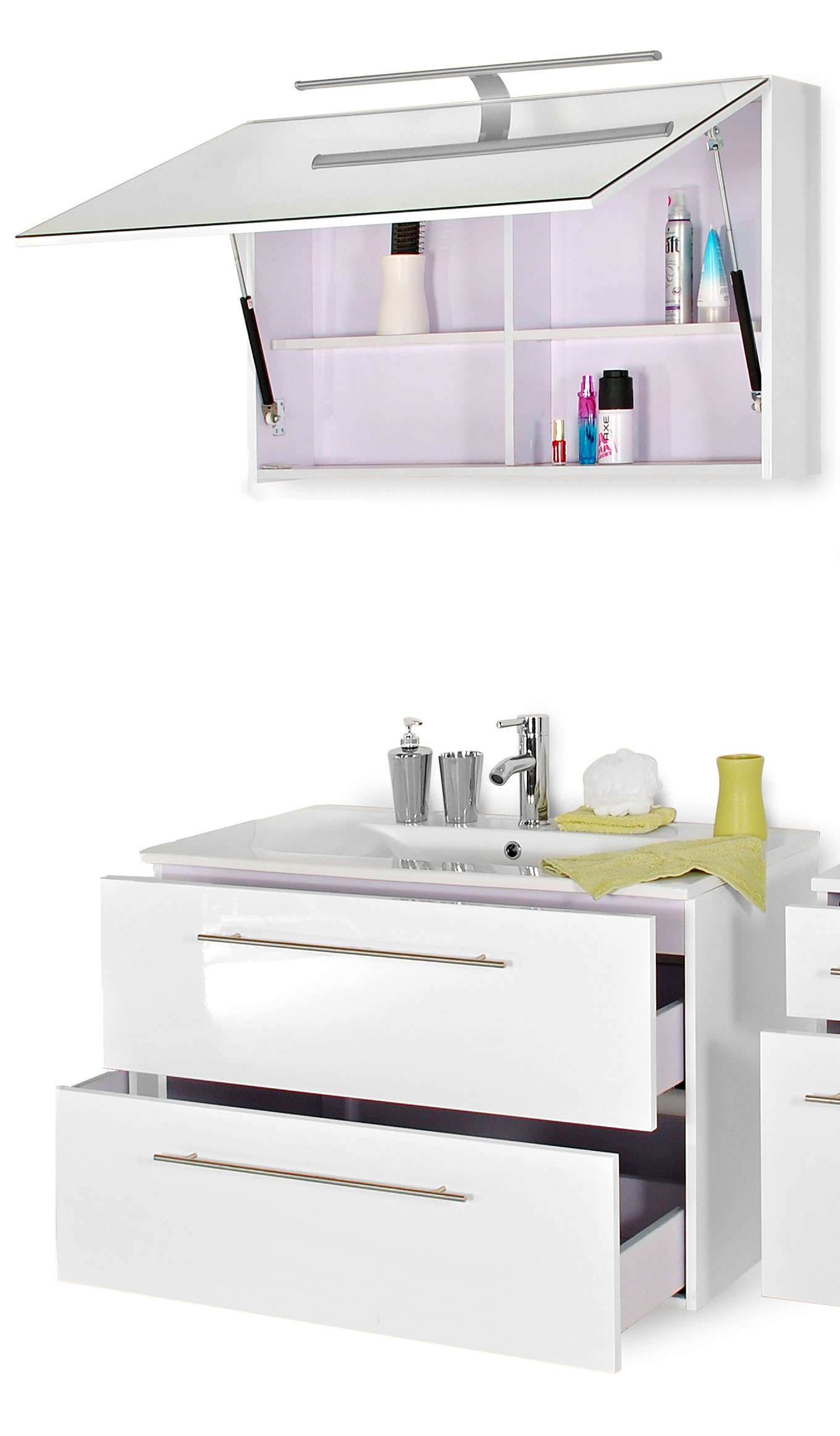 sam badm bel set 2tlg wei 90cm spiegelschrank deluxe rimini demn chst. Black Bedroom Furniture Sets. Home Design Ideas