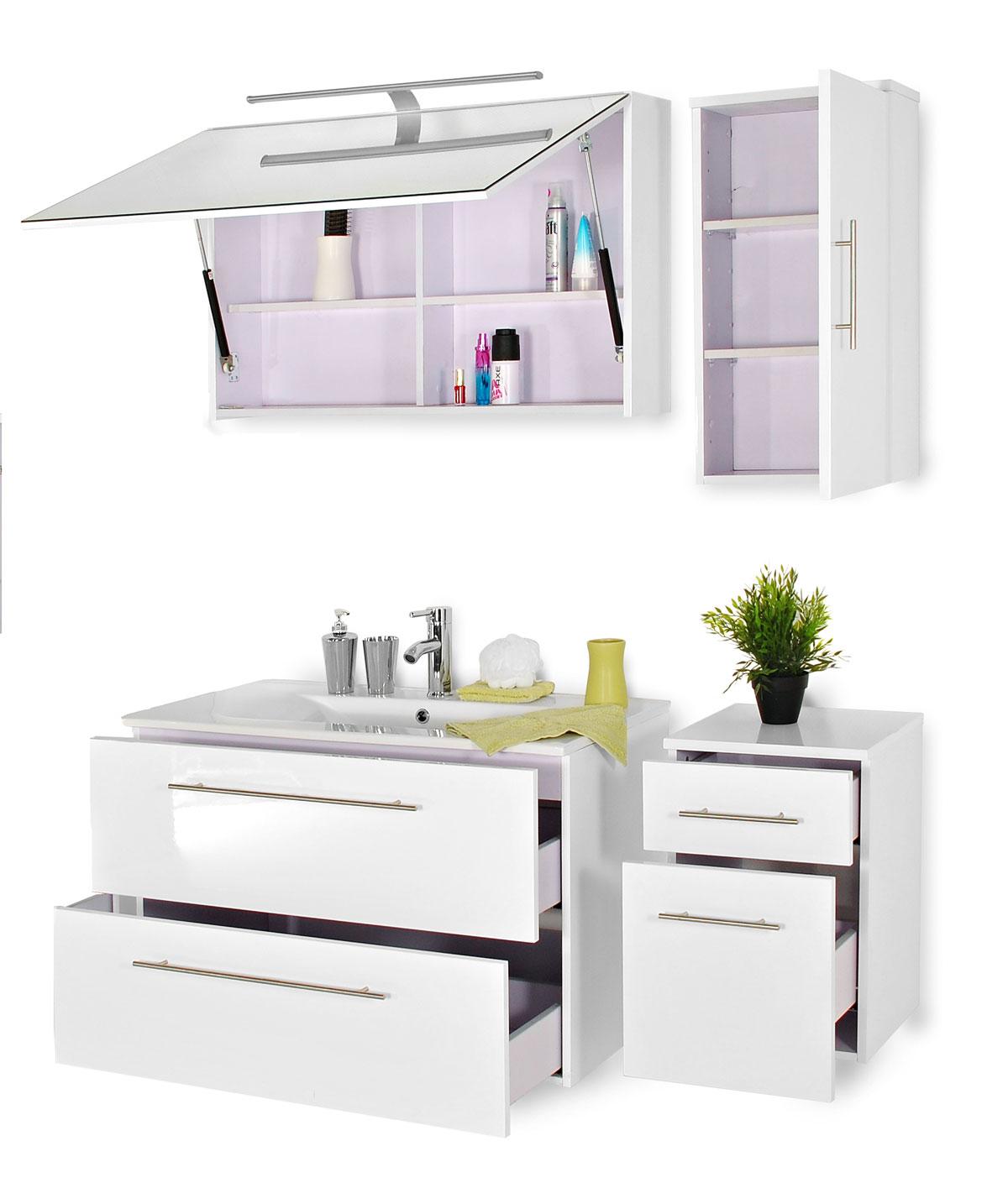 sam® badmöbel set 4tlg weiß 90cm spiegelschrank deluxe rimini, Badezimmer ideen