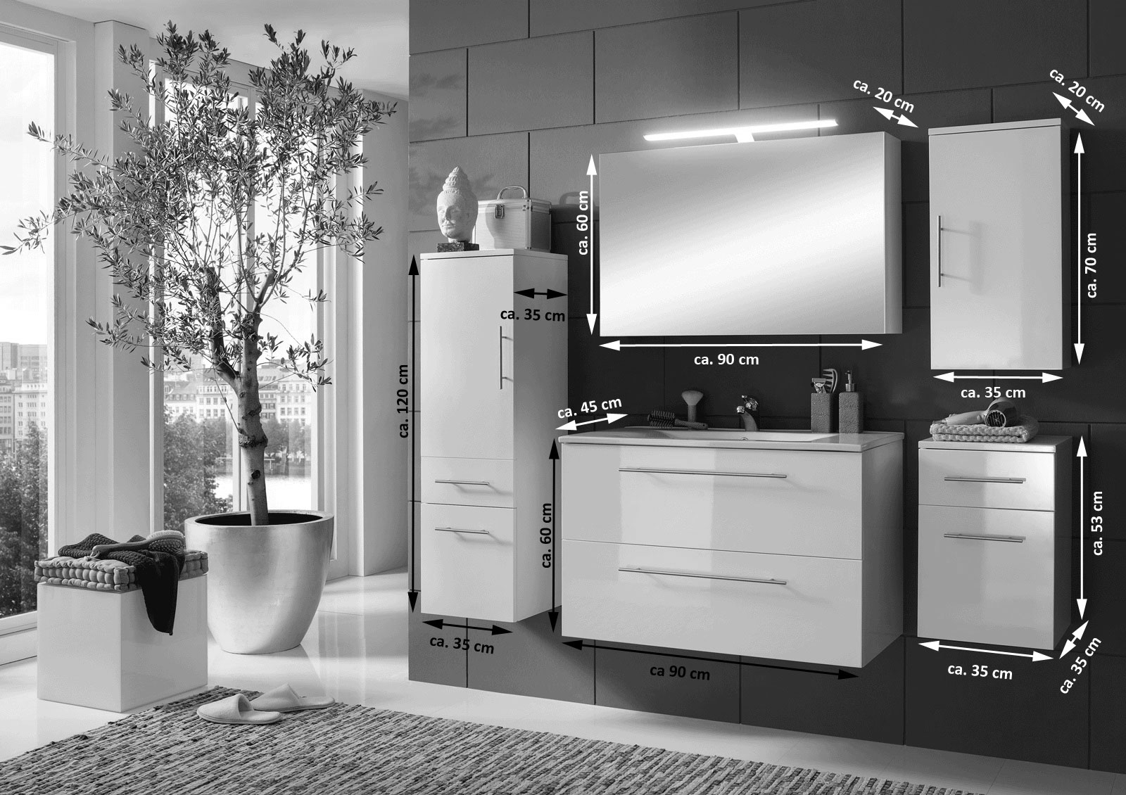 SAM® Badmöbel Set 5tlg weiß 90cm Spiegelschrank Deluxe RIMINI | {Badmöbel trend 66}