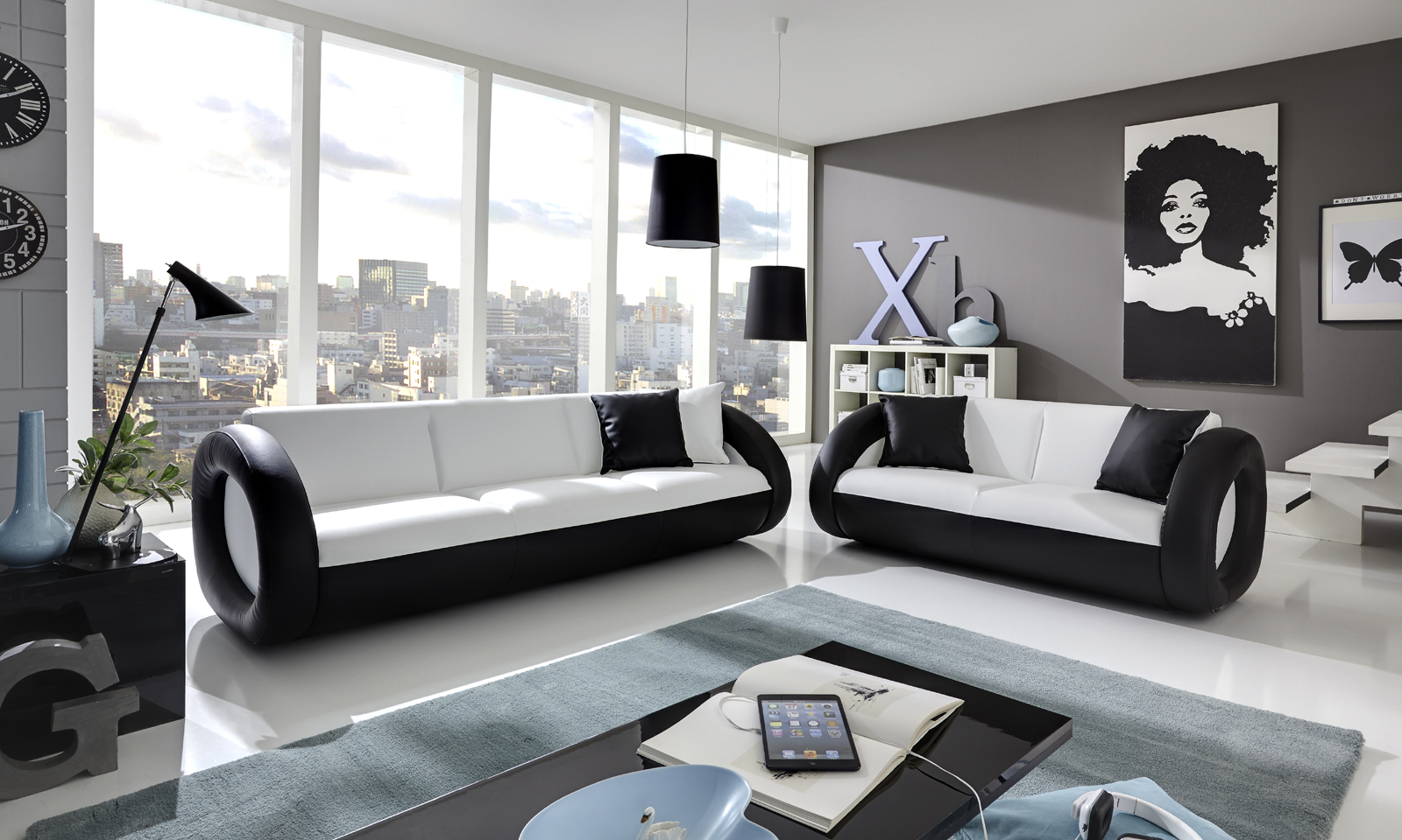 sam sofa couch garnitur 2 3 sitzer wei schwarz onda. Black Bedroom Furniture Sets. Home Design Ideas