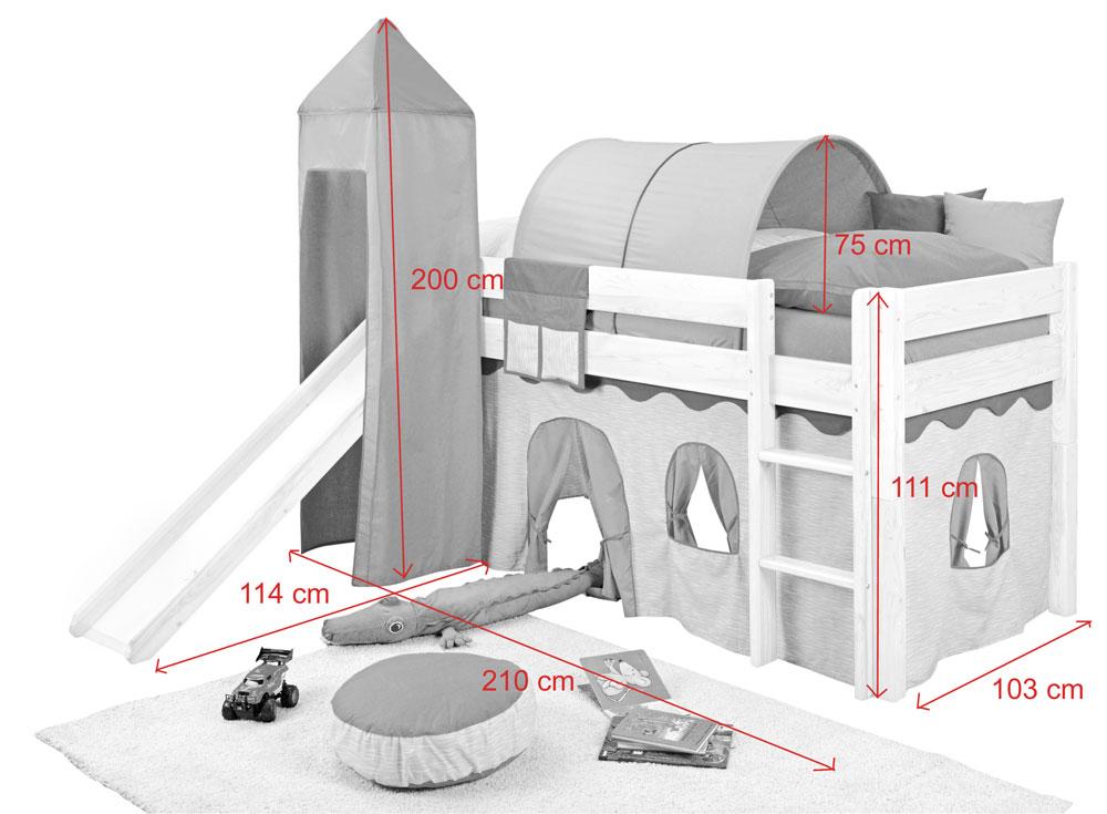 sam kinder spielbett prinzessin i wei gerade massivholz. Black Bedroom Furniture Sets. Home Design Ideas