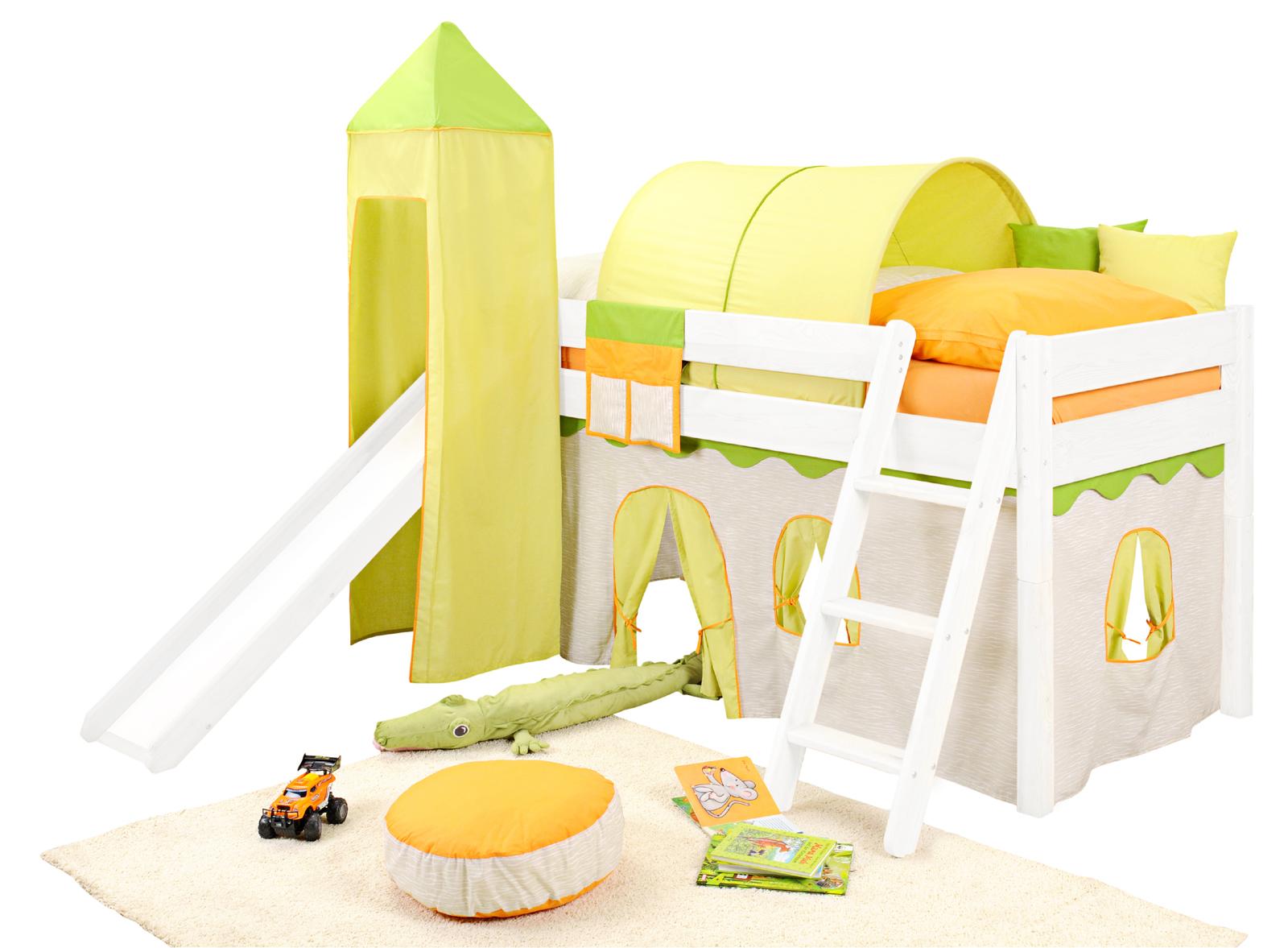 Kinderbett dschungel  SAM® Kinder Spielbett Dschungel II weiß schräg Massivholz