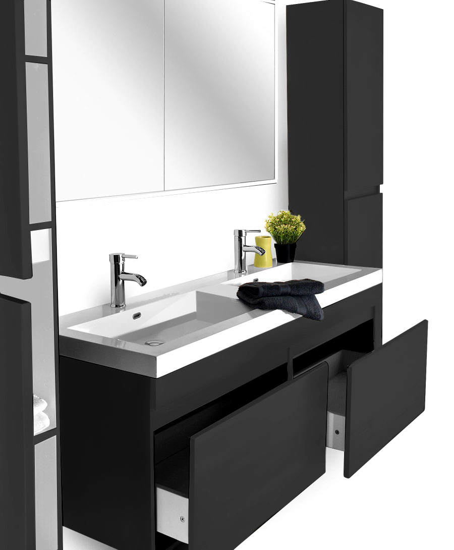 SAM® Badmöbel Set 4tlg Doppelwaschtisch 140 cm schwarz Parma Demnächst !
