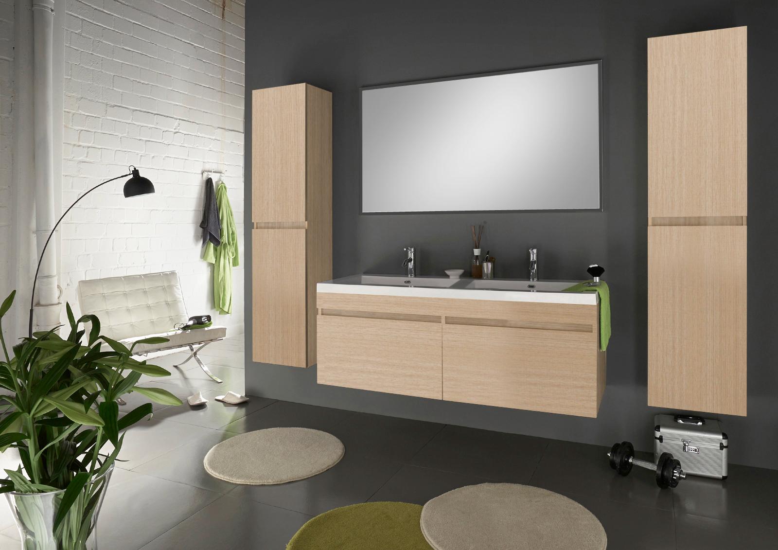 SAM® Badmöbel Set 4tlg Doppelwaschtisch 140cm sonomaeiche Parma