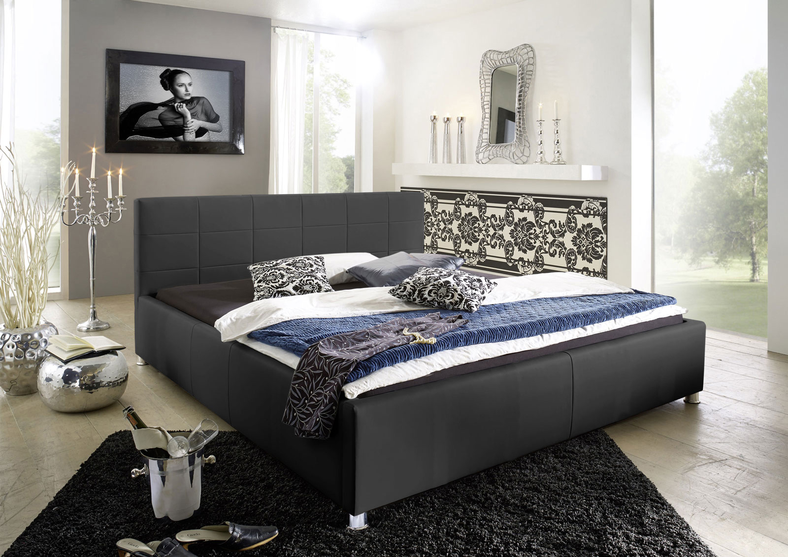 sam polsterbett 160 x 200 cm schwarz doppelbett kira. Black Bedroom Furniture Sets. Home Design Ideas