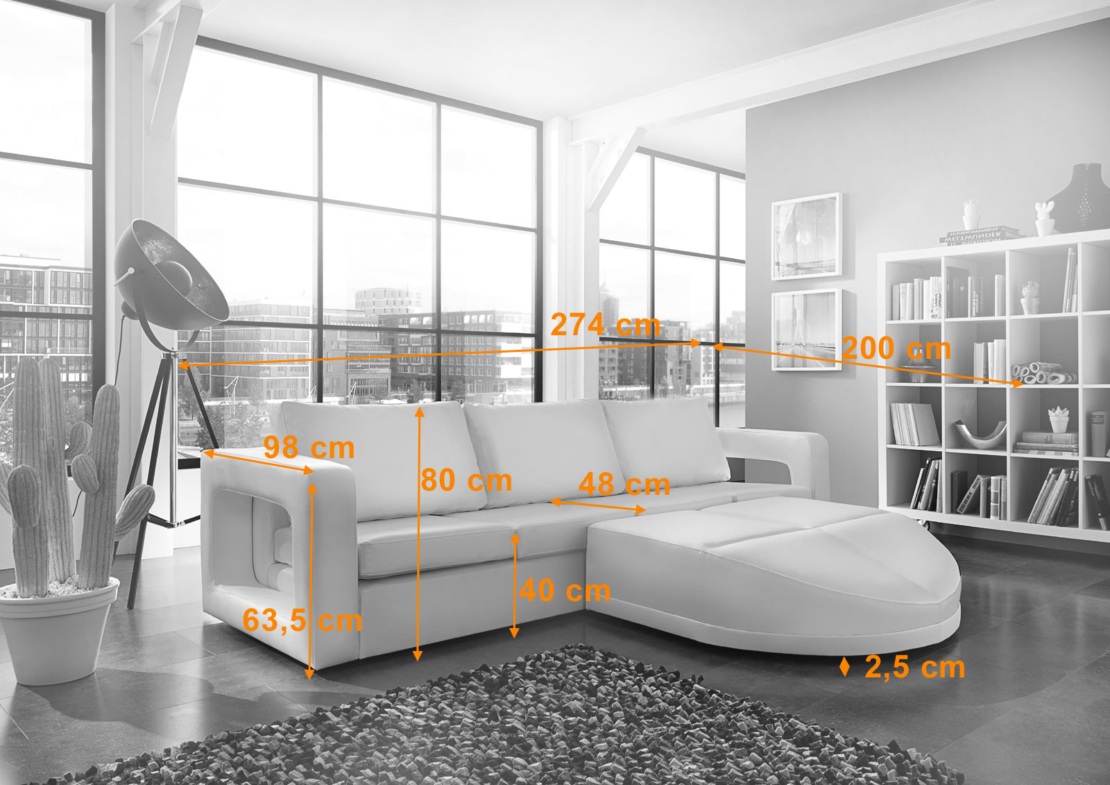 sam ecksofa wohnlandschaft 274 x 200 cm wei rechts. Black Bedroom Furniture Sets. Home Design Ideas