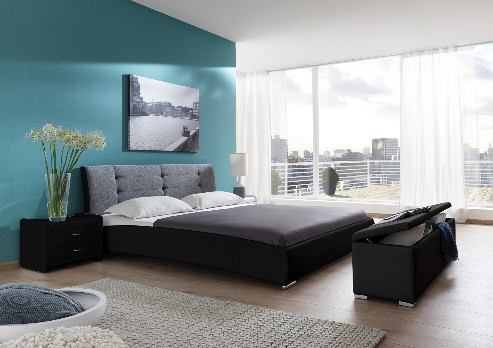 sam polsterbett doppelbett 140 x 200 cm schwarz grau bebop. Black Bedroom Furniture Sets. Home Design Ideas