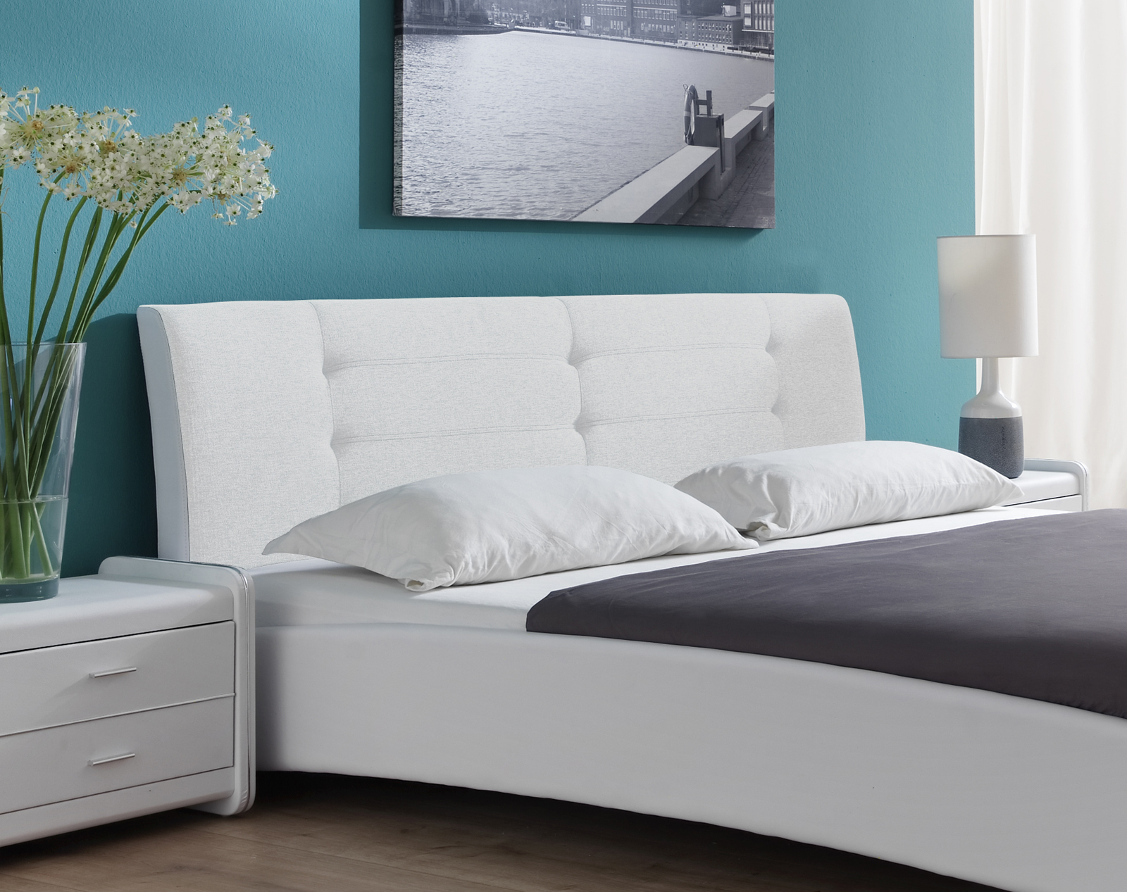 sam polsterbett doppelbett 200 x 200 cm wei bebop demn chst. Black Bedroom Furniture Sets. Home Design Ideas