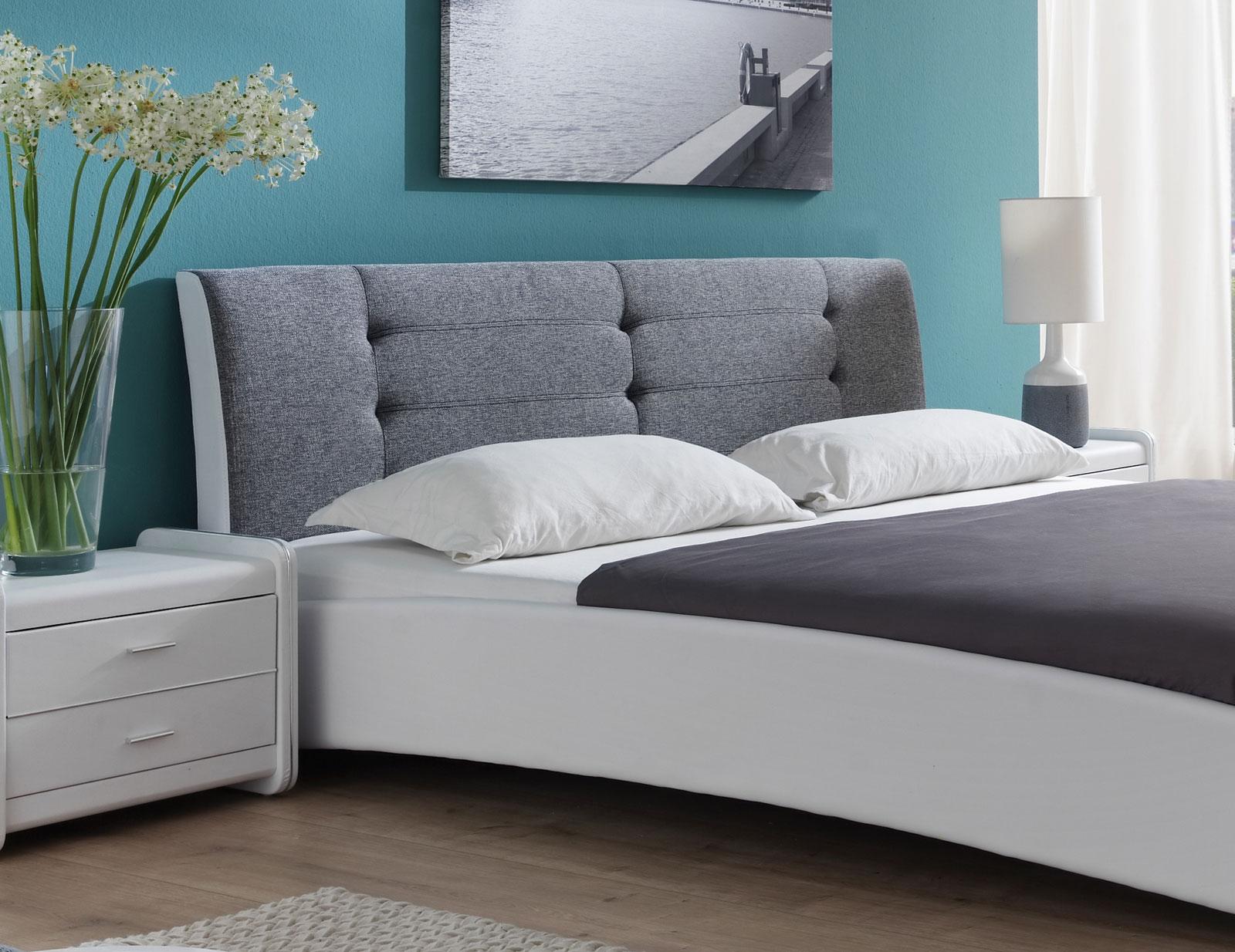 sam polsterbett doppelbett 140 x 200 cm wei grau bebop. Black Bedroom Furniture Sets. Home Design Ideas