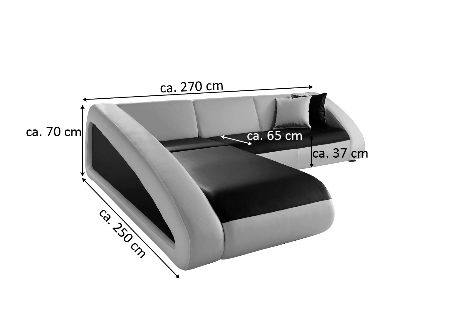 Sam couch ecksofa polsterecke 250 x 270 cm braun creme ciao for Ecksofa 250 cm breit