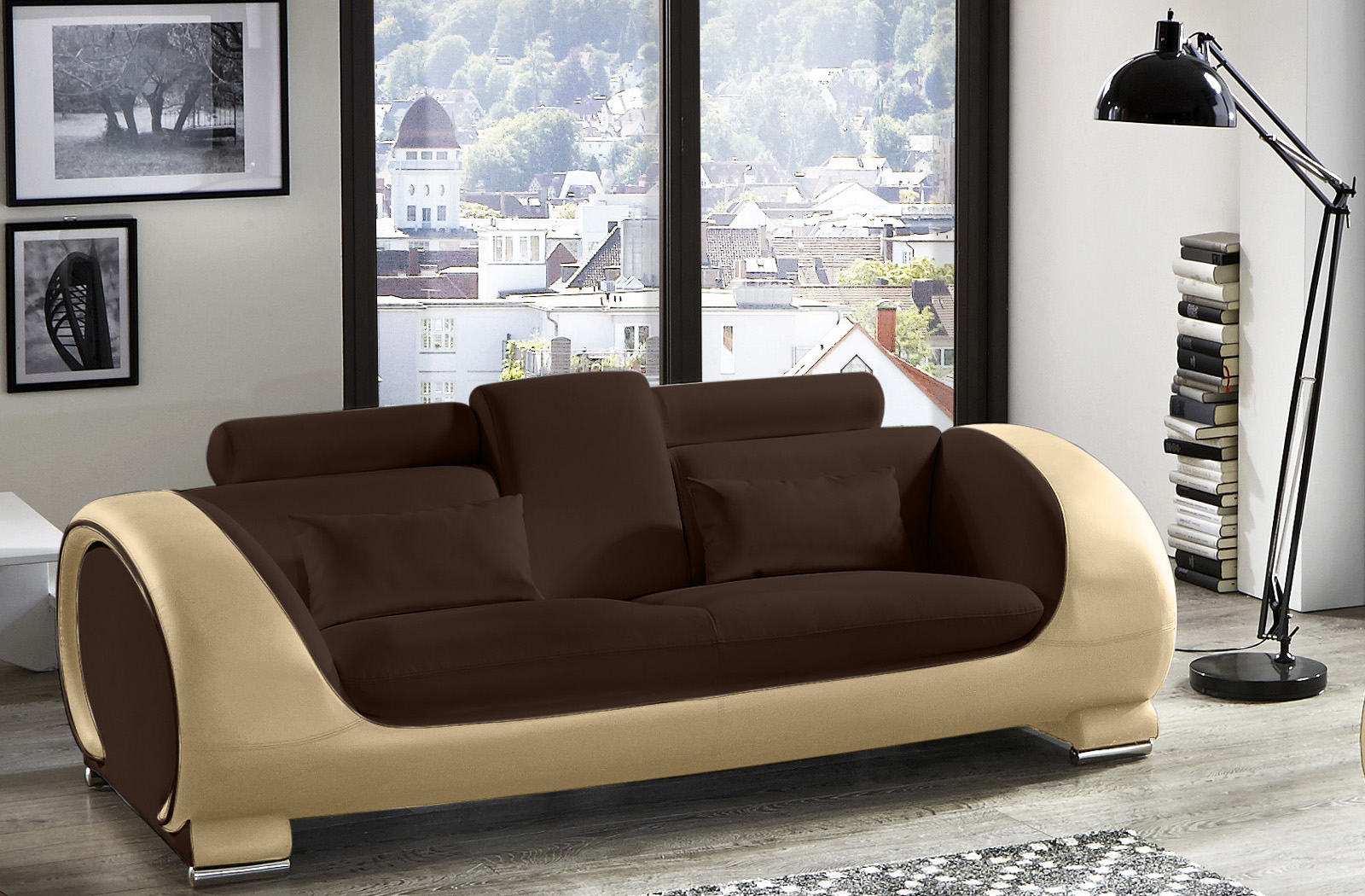 sam 2 3 sitzer sofa garnitur 2tlg in braun creme vigo. Black Bedroom Furniture Sets. Home Design Ideas