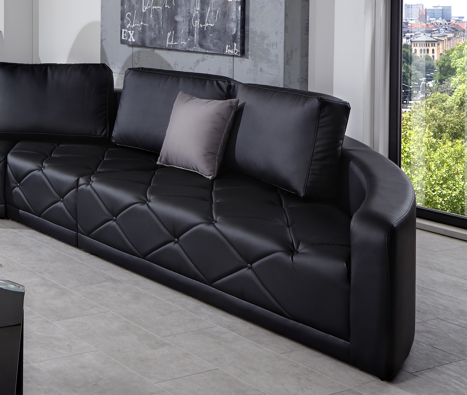 Sam design sofa schwarz wohnlandschaft nero 290 x 380 cm for Wohnlandschaft auf ratenzahlung