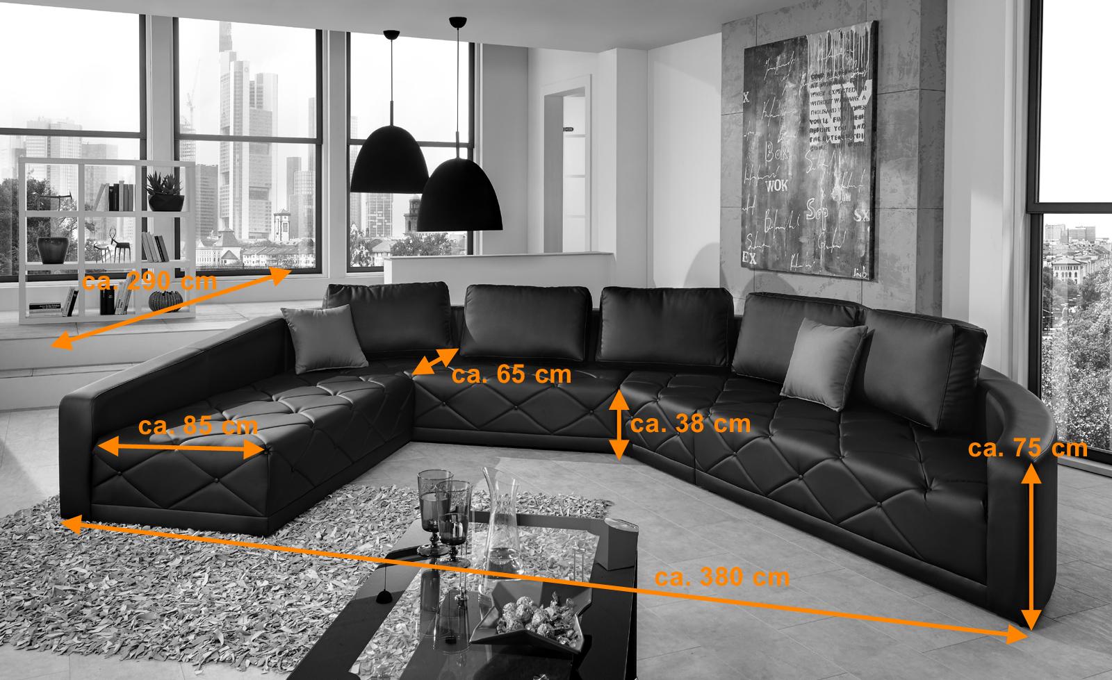 Sam design sofa schwarz wohnlandschaft nero 290 x 380 cm for Wohnlandschaft 380 cm