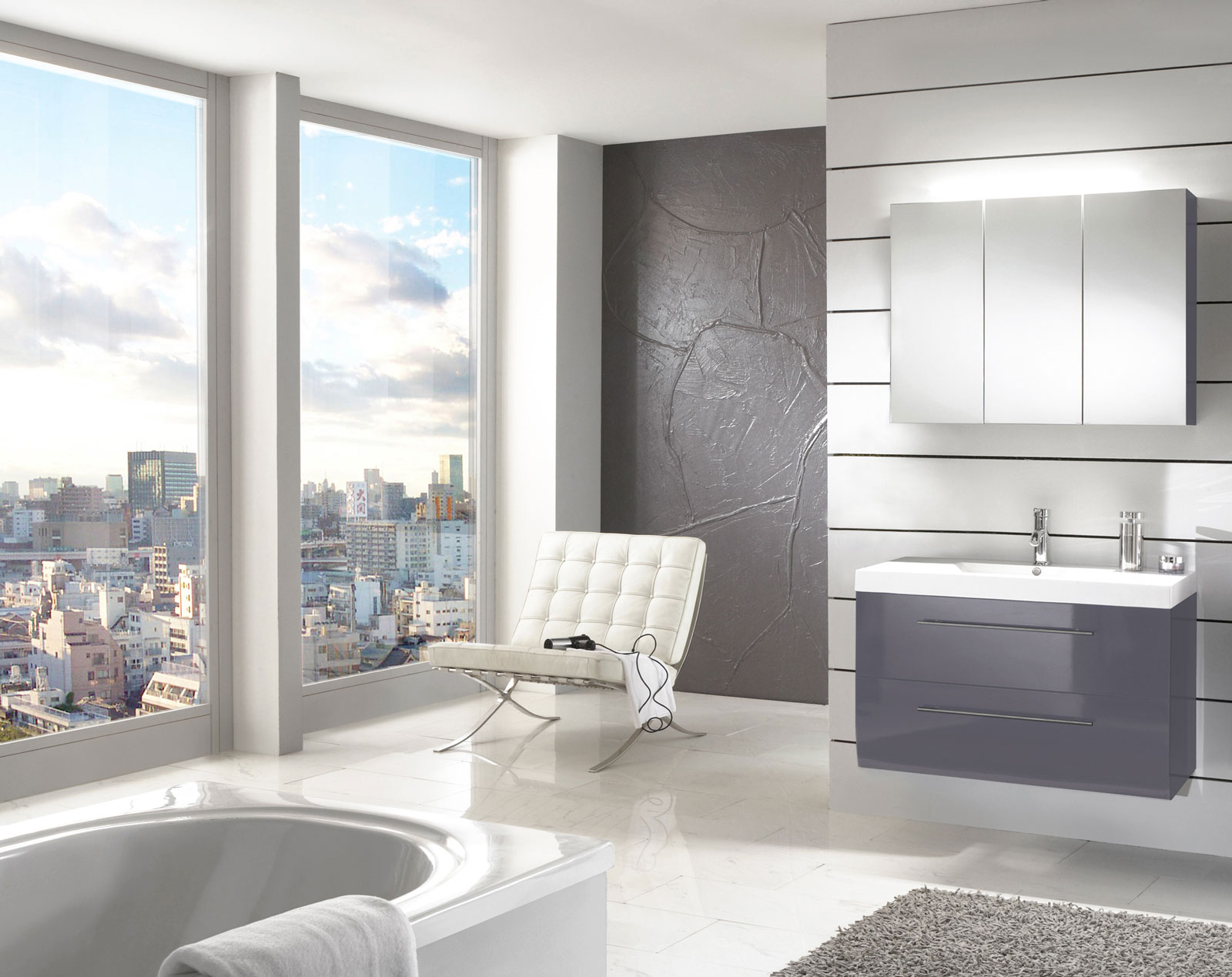 sam badm bel set 2tlg waschtisch 90 cm grau hochglanz z rich demn chst. Black Bedroom Furniture Sets. Home Design Ideas