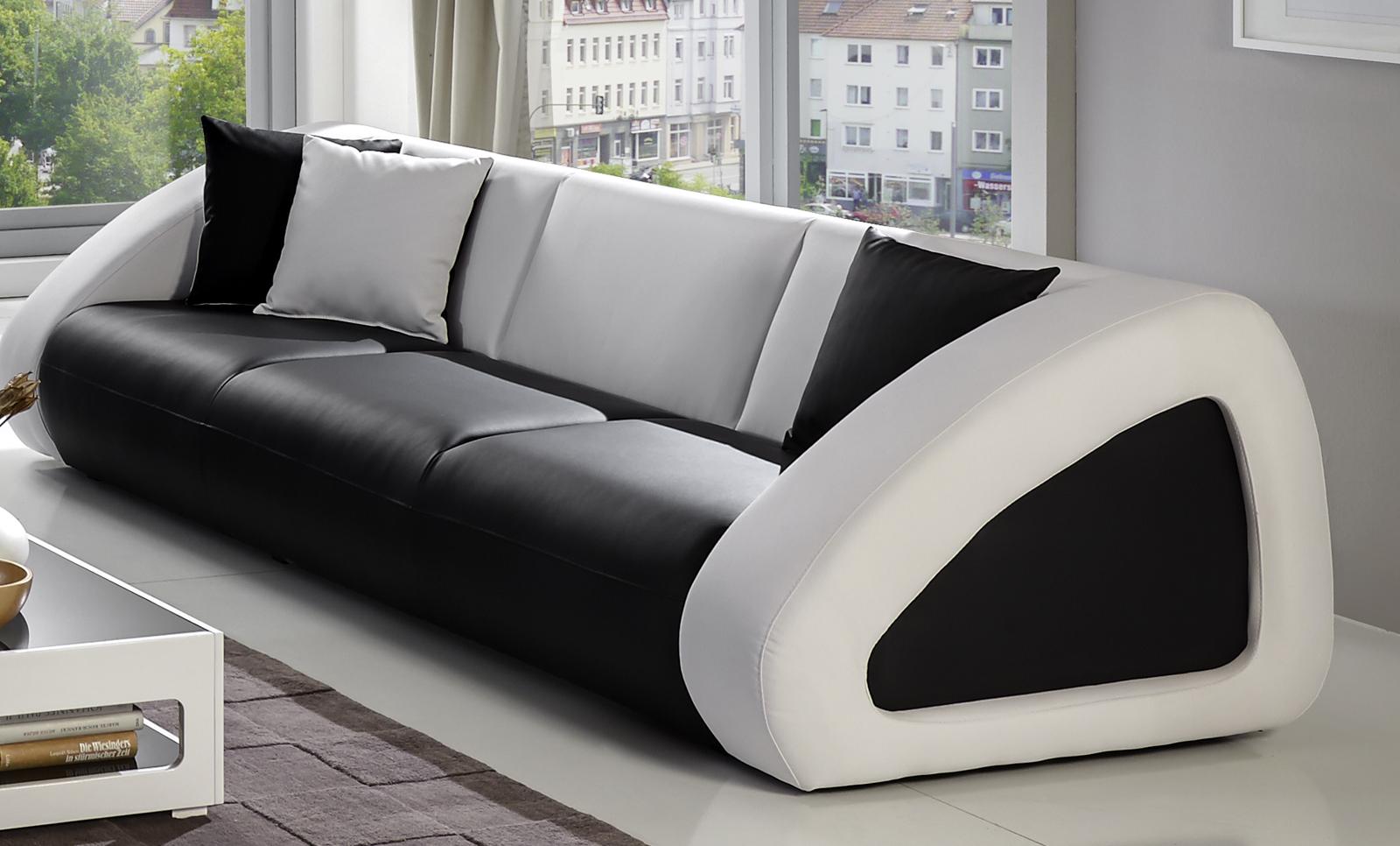 SAM® Polster Sofa Garnitur Schwarz/weiß/weiß CIAO Combi 3 2