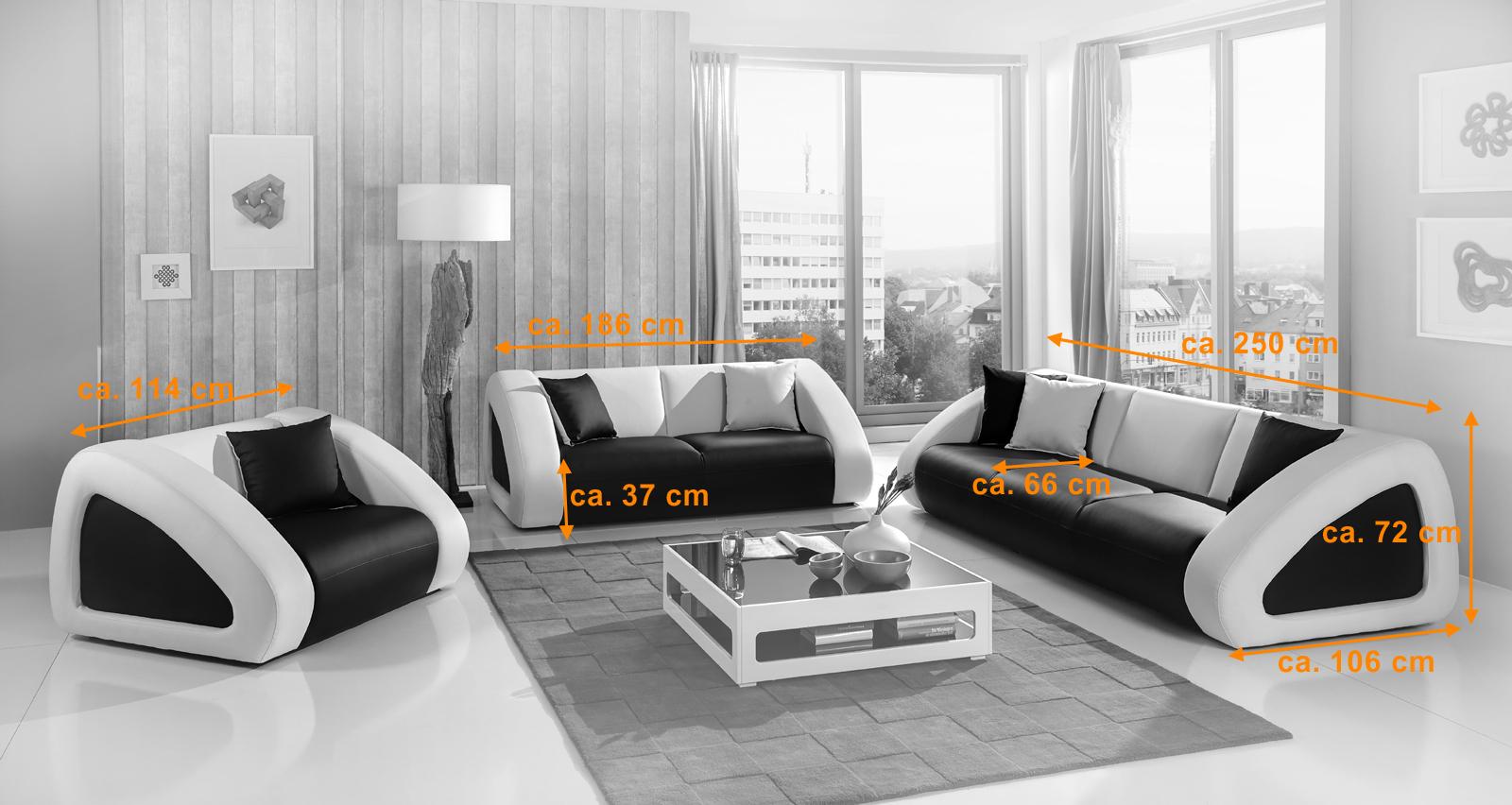 SAM® Polster Sofa Garnitur schwarz/weiß/weiß CIAO Combi 3-2-1