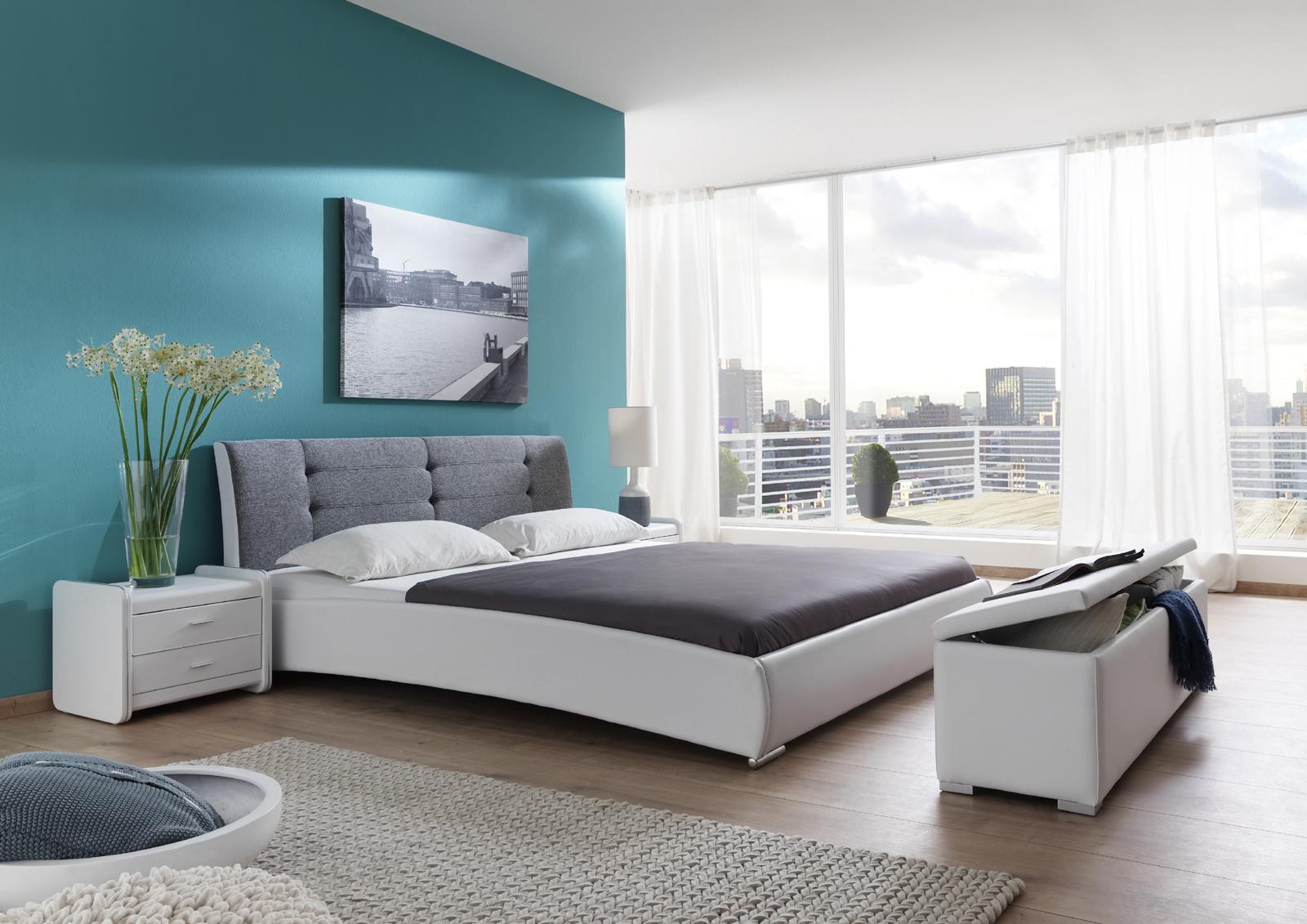 sam design polsterbett 140 x 200 cm wei grau bebop. Black Bedroom Furniture Sets. Home Design Ideas