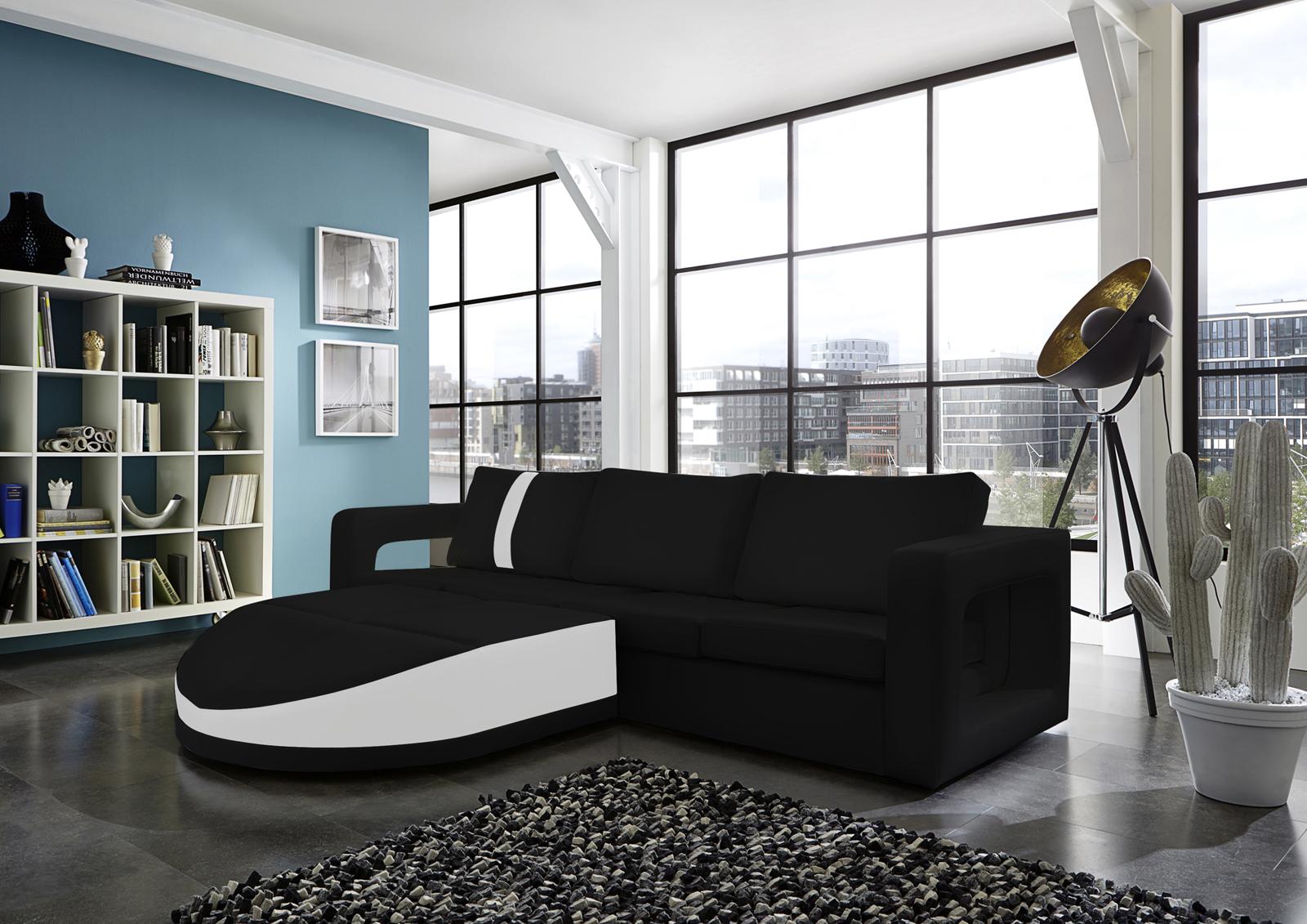 sam ecksofa schwarz wei sofa doccia 200 x 274 cm auf lager. Black Bedroom Furniture Sets. Home Design Ideas