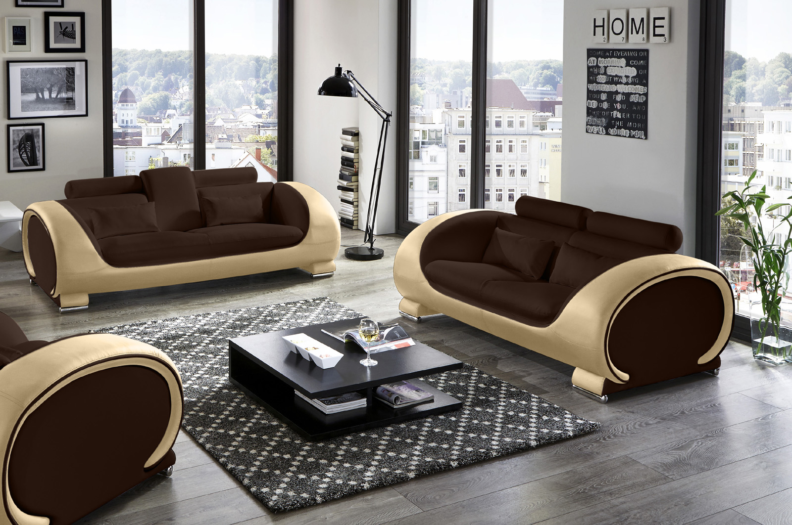 sam 2 3 sitzer sofa garnitur 2tlg in braun creme vigo auf lager. Black Bedroom Furniture Sets. Home Design Ideas
