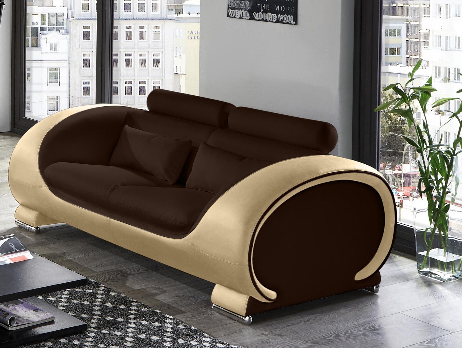 sam 2 3 sitzer sofa garnitur 2tlg in braun creme vigo auf lager. Black Bedroom Furniture Sets. Home Design Ideas